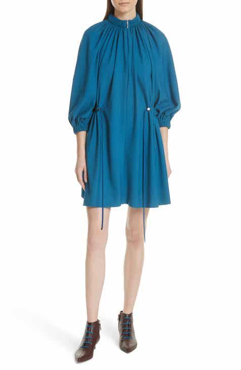 Tibi Side Drawstring Georgette Dress