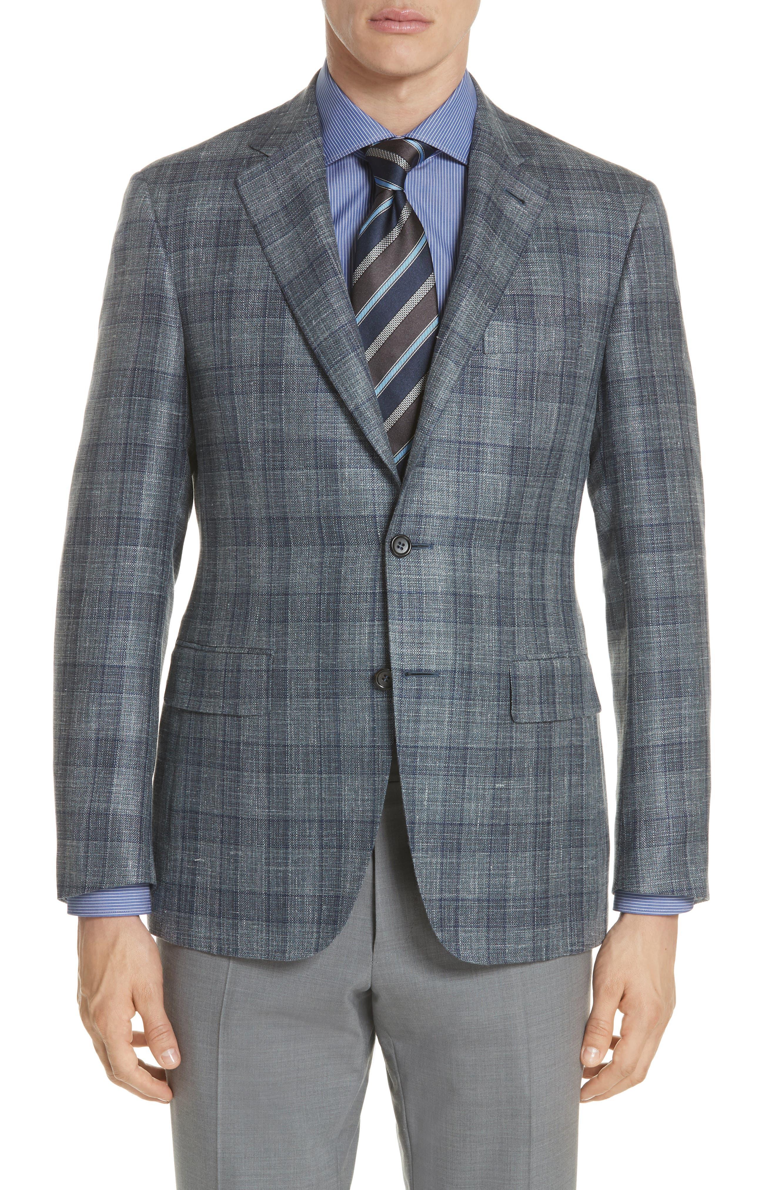 Classic Fit Wool Blend Check Sport Coat,                             Main thumbnail 1, color,                             Grey