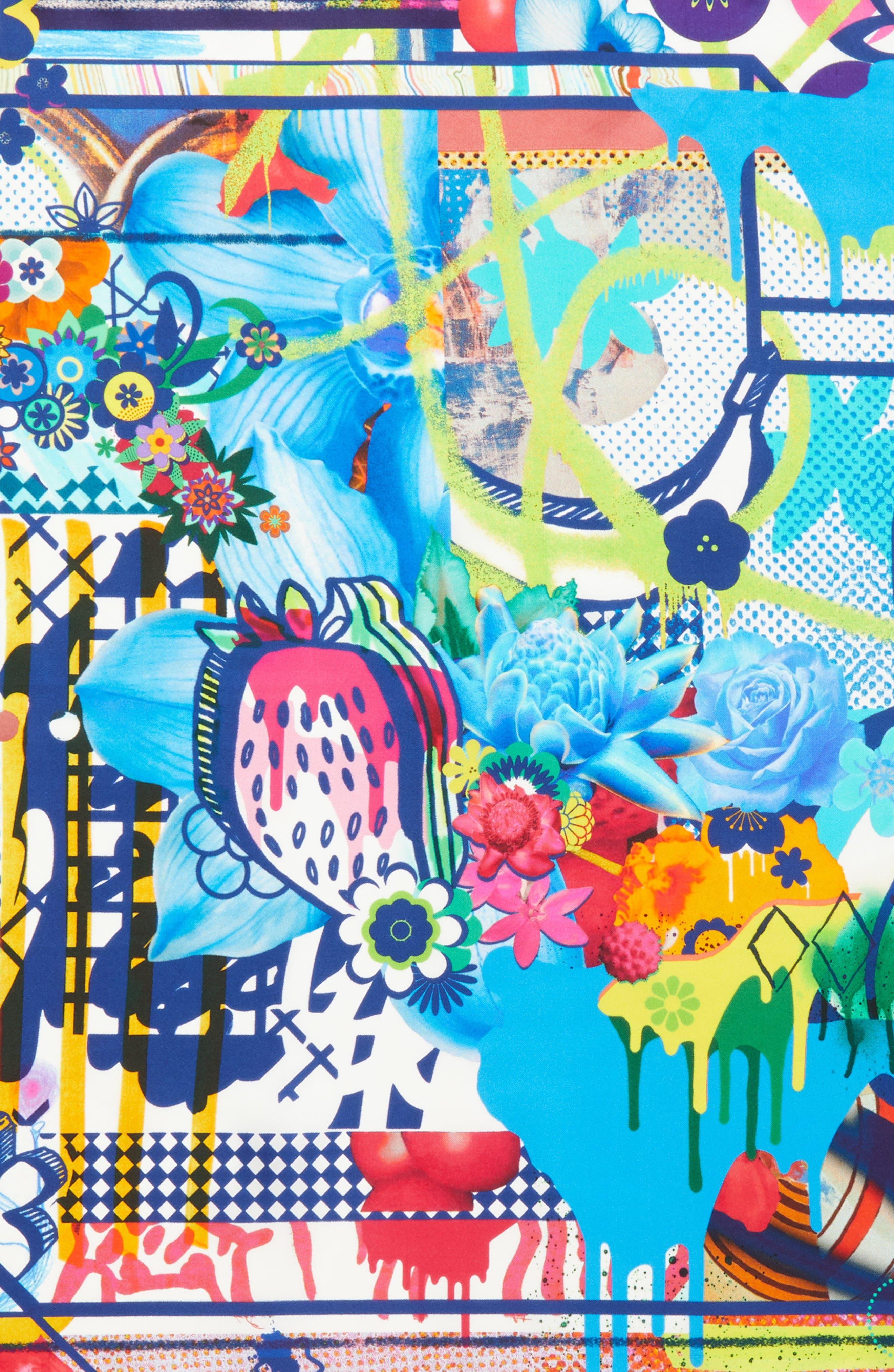 Floral Silk Scarf,                             Alternate thumbnail 4, color,                             Sky Blue