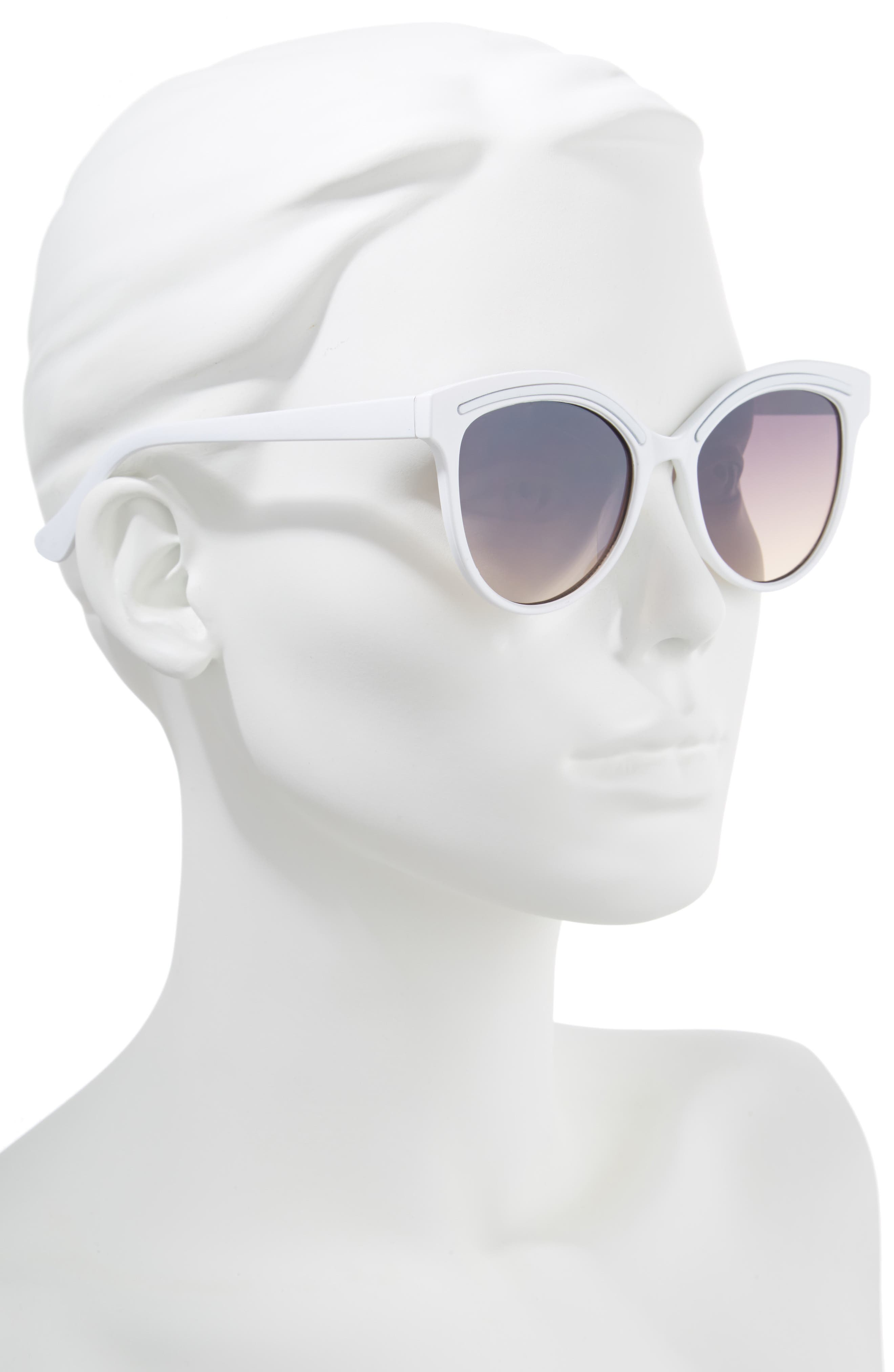 59mm Metallic Accent Cat Eye Sunglasses,                             Alternate thumbnail 2, color,                             White