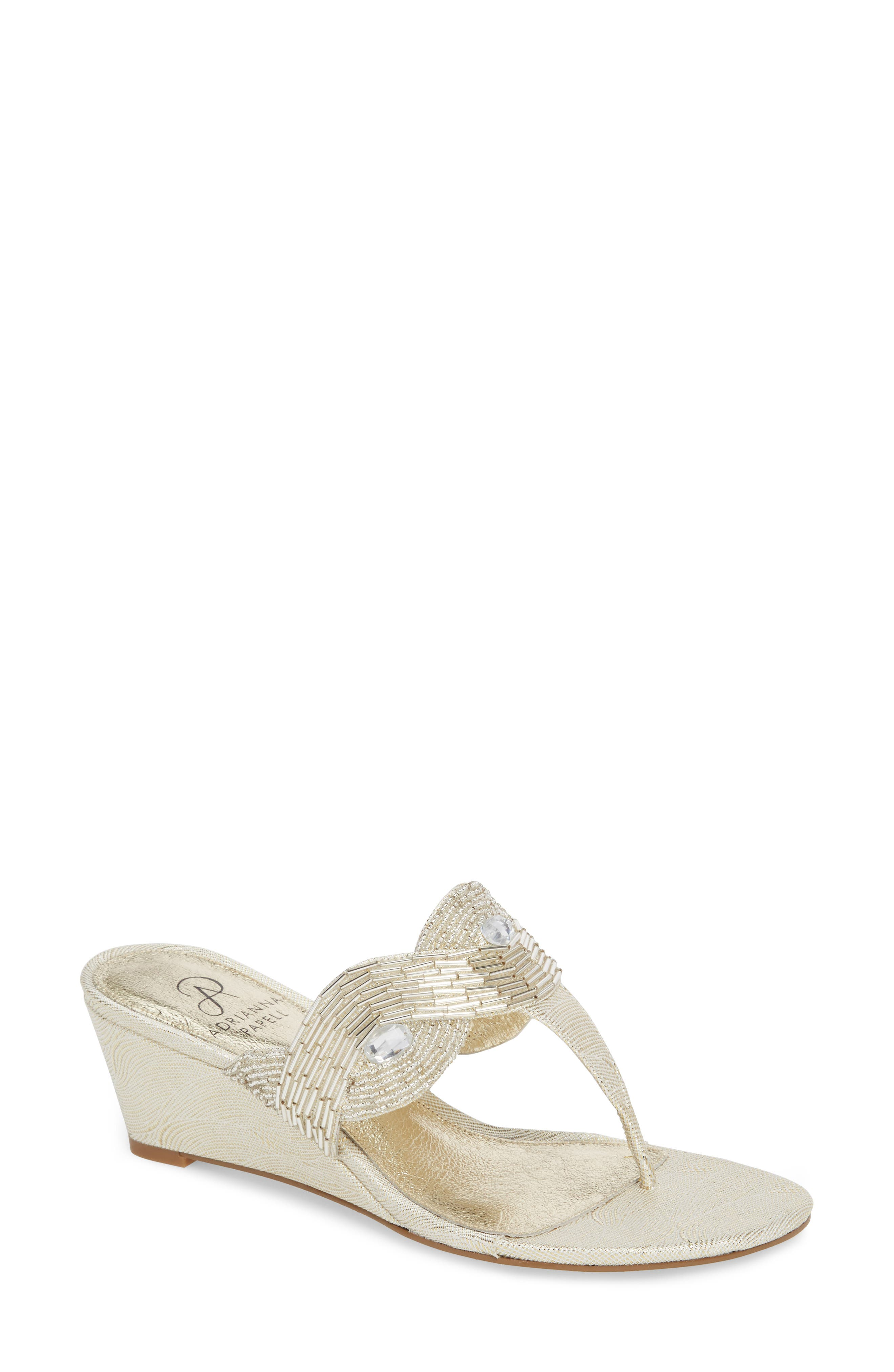 Coco Beaded Wedge Sandal,                         Main,                         color, Pearl Fabric