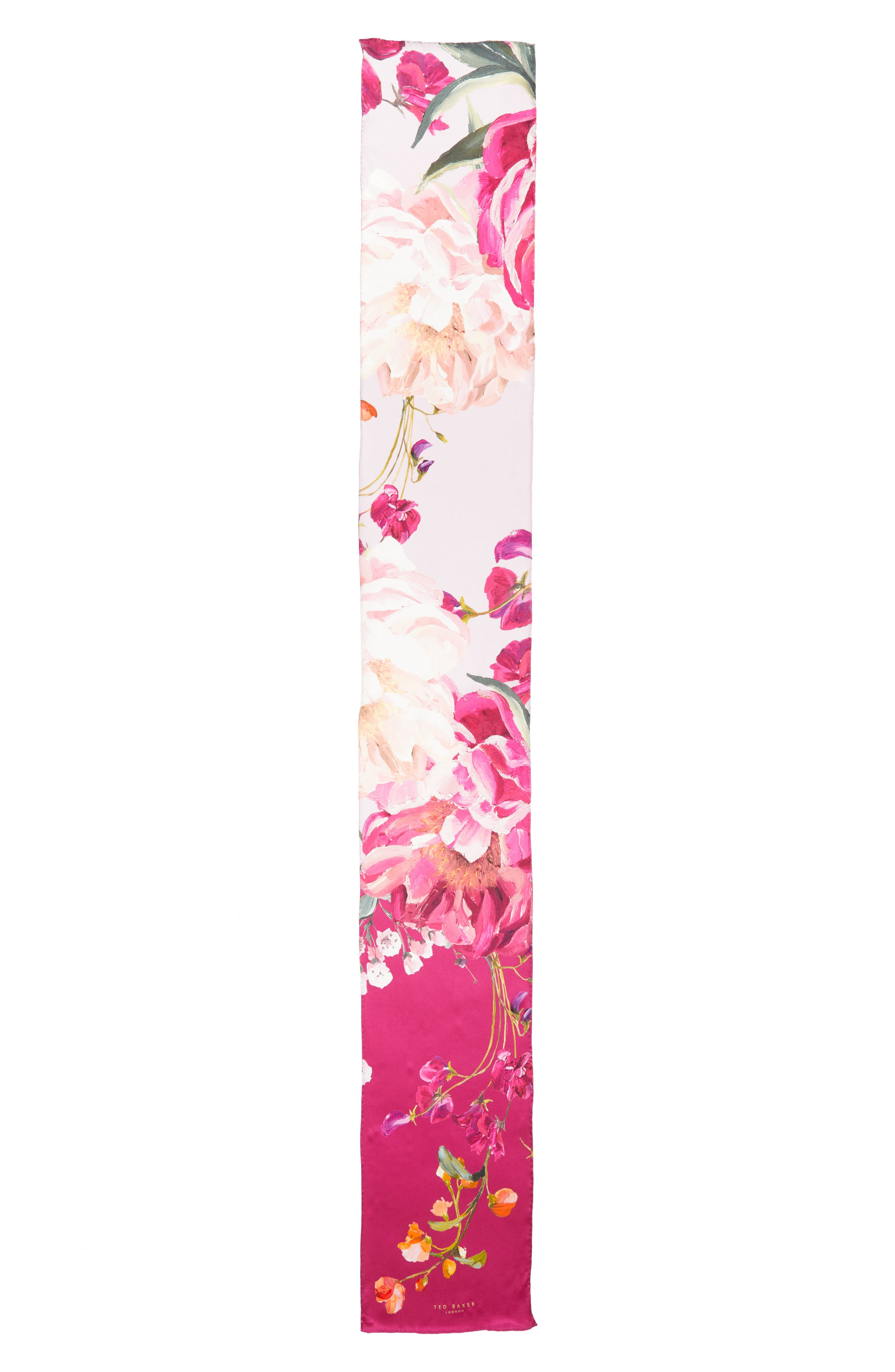 Serenity Skinny Silk Scarf,                             Alternate thumbnail 3, color,                             Pale Pink