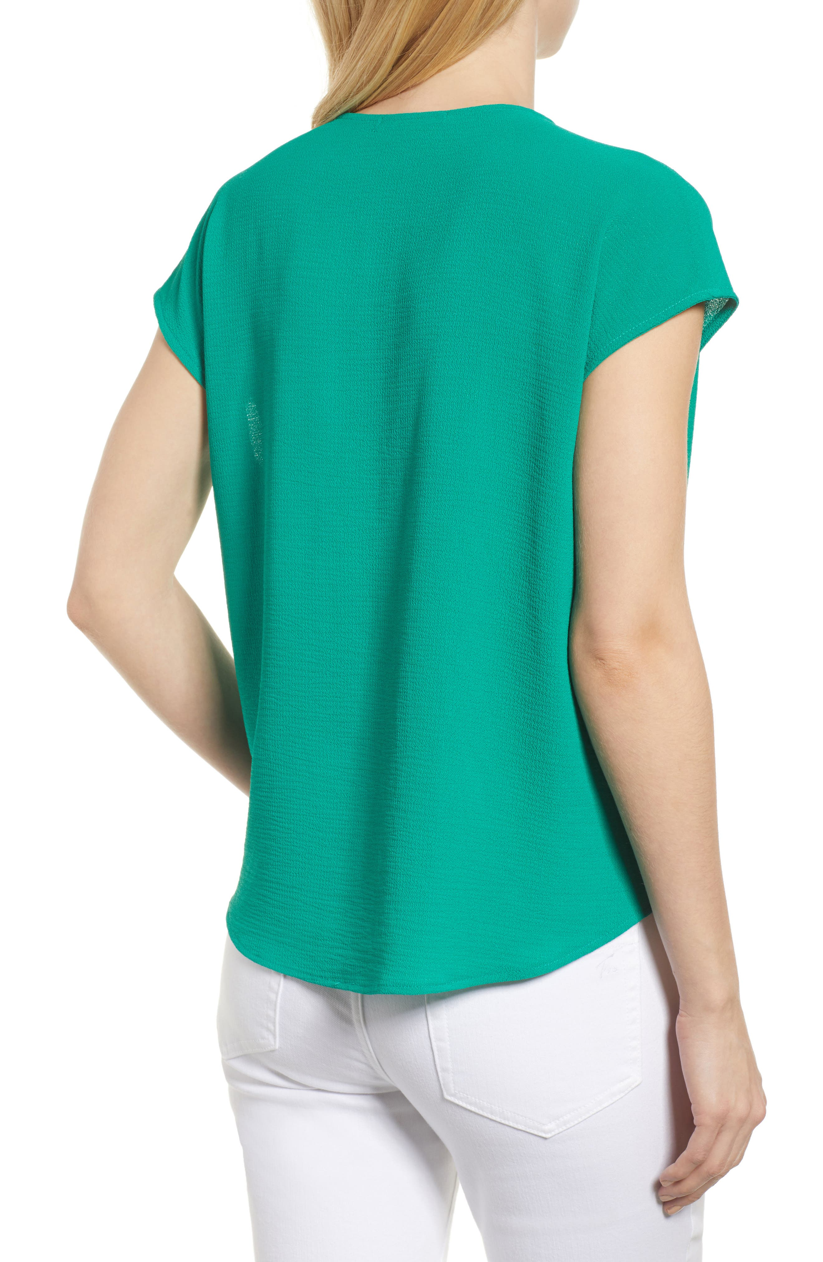 Draped Faux Wrap Top,                             Alternate thumbnail 2, color,                             Green Lake