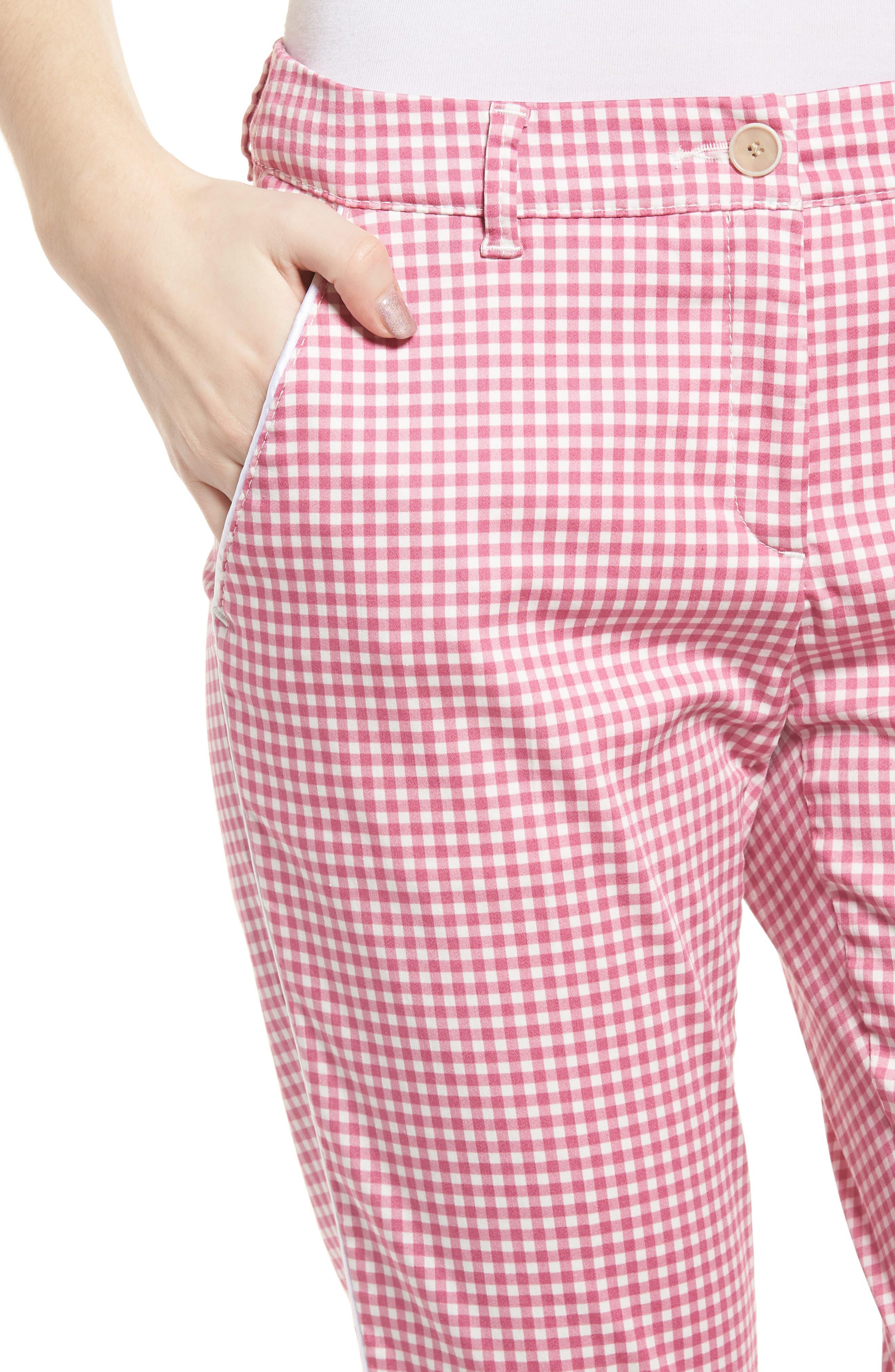 Maron Gingham Stretch Cotton Pants,                             Alternate thumbnail 4, color,                             Pink