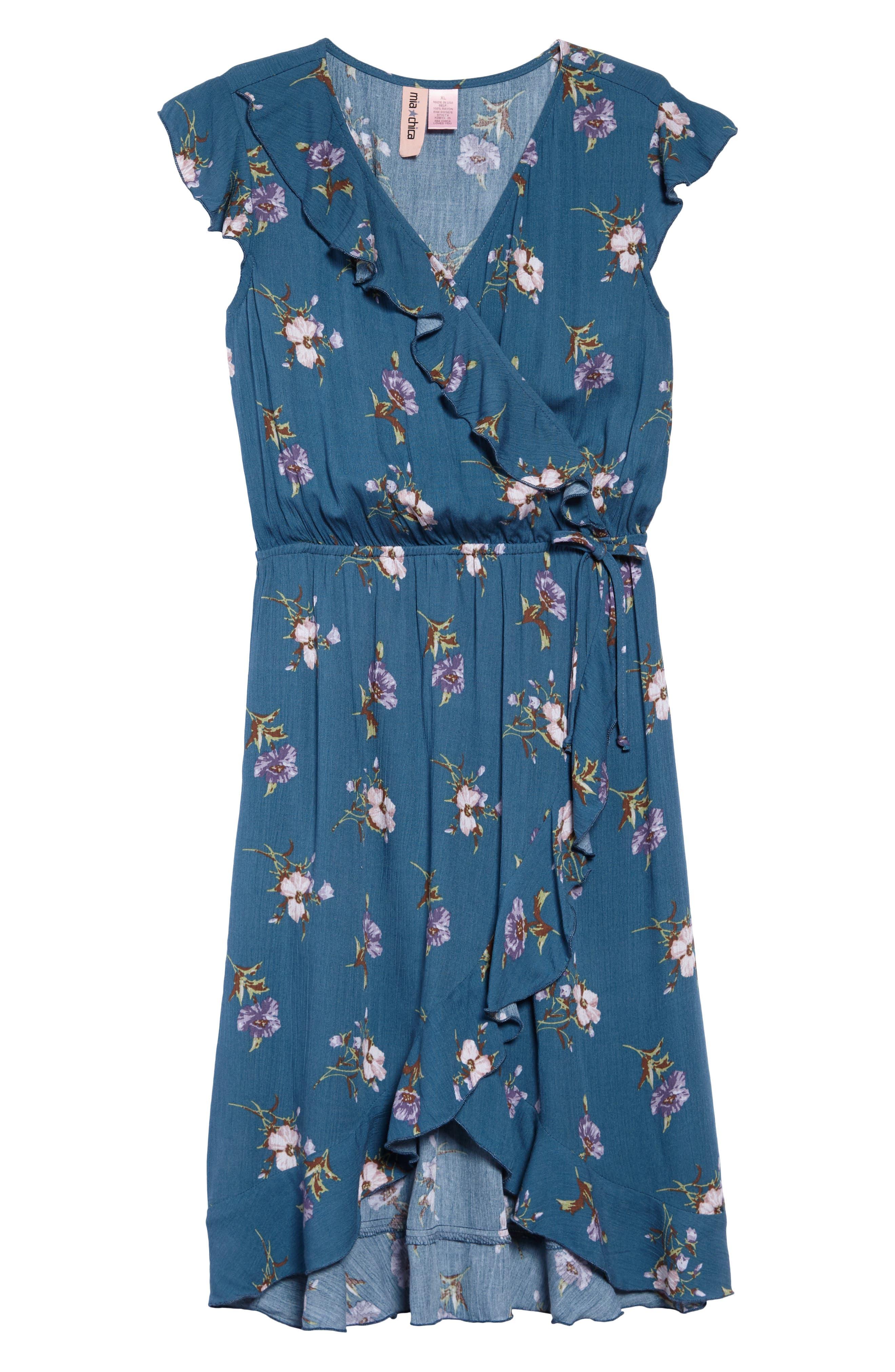 Floral Wrap Dress,                         Main,                         color, Blue Multi