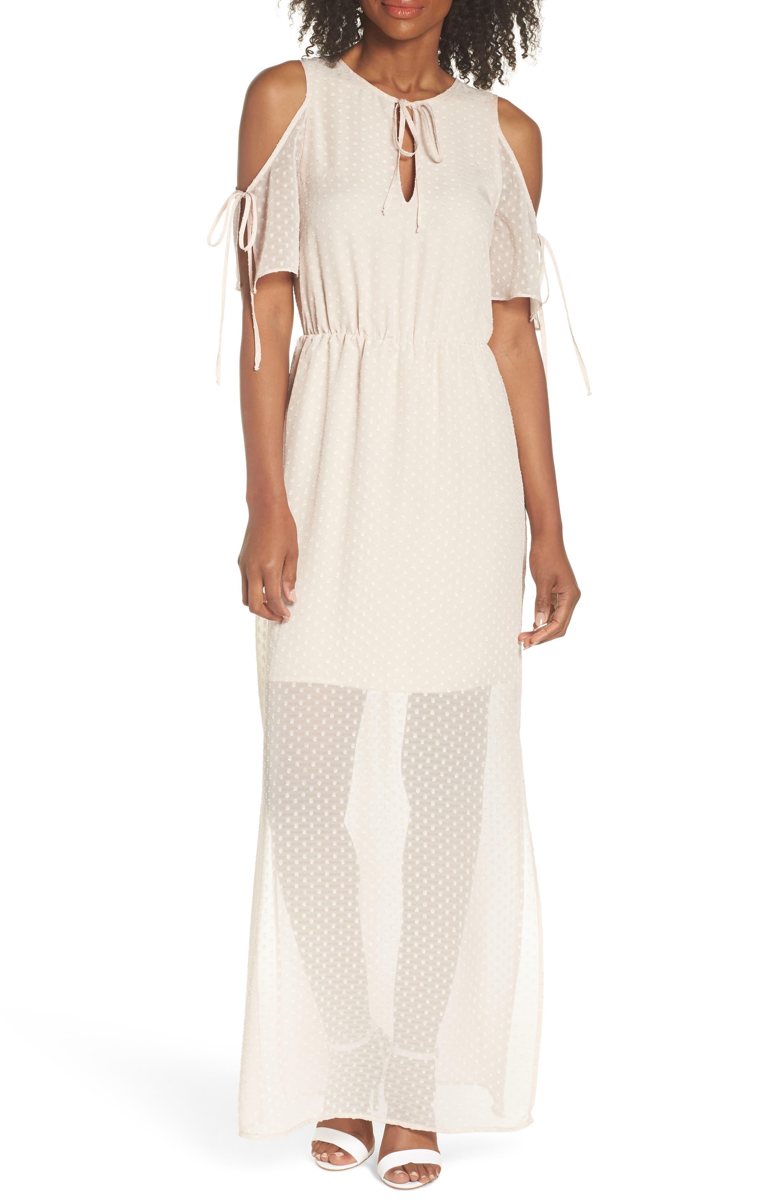 Tie Sleeve Cold Shoulder Maxi Dress,                         Main,                         color, Champagne