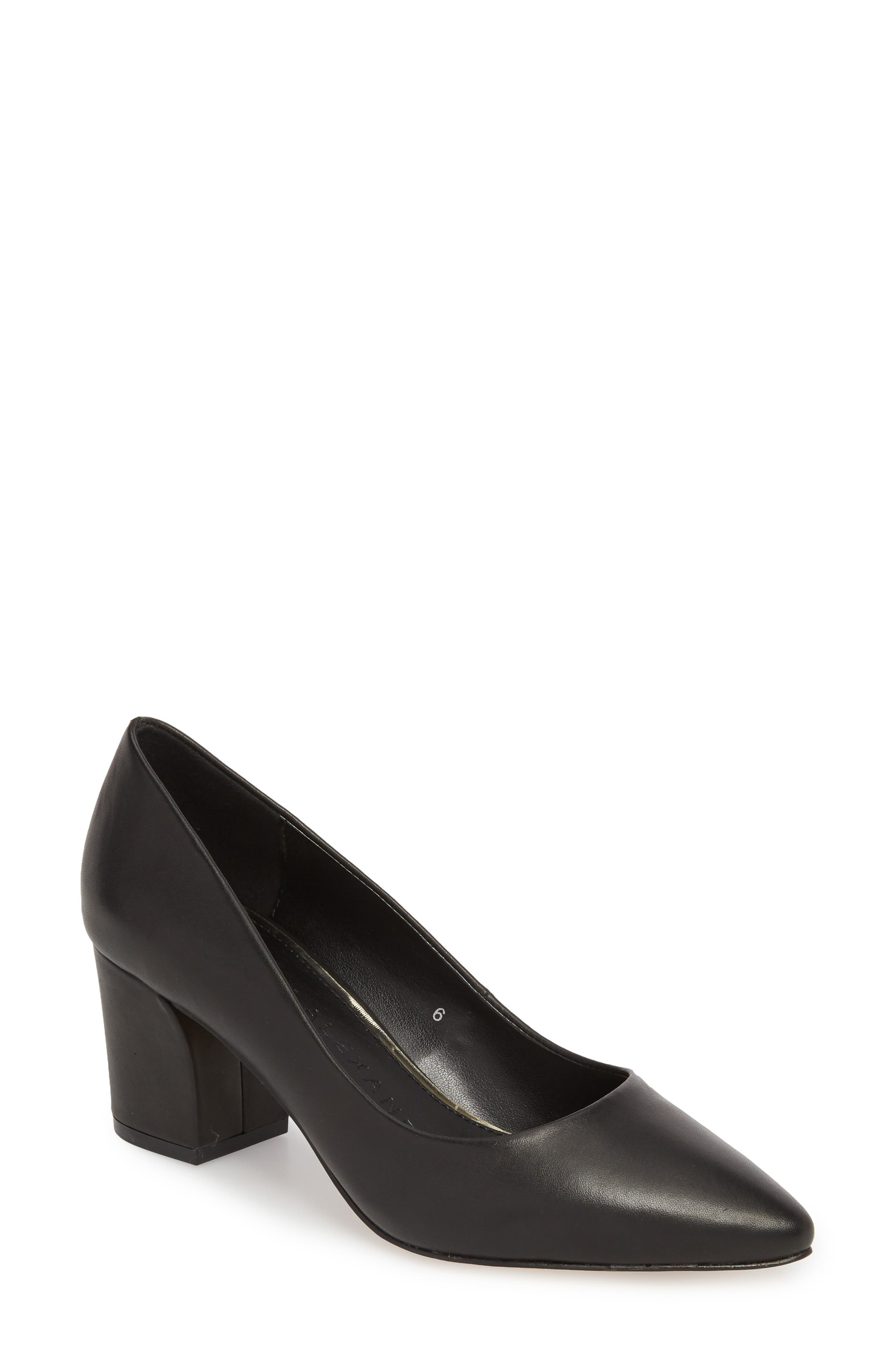 Haven Block Heel Pump,                             Main thumbnail 1, color,                             Black Leather