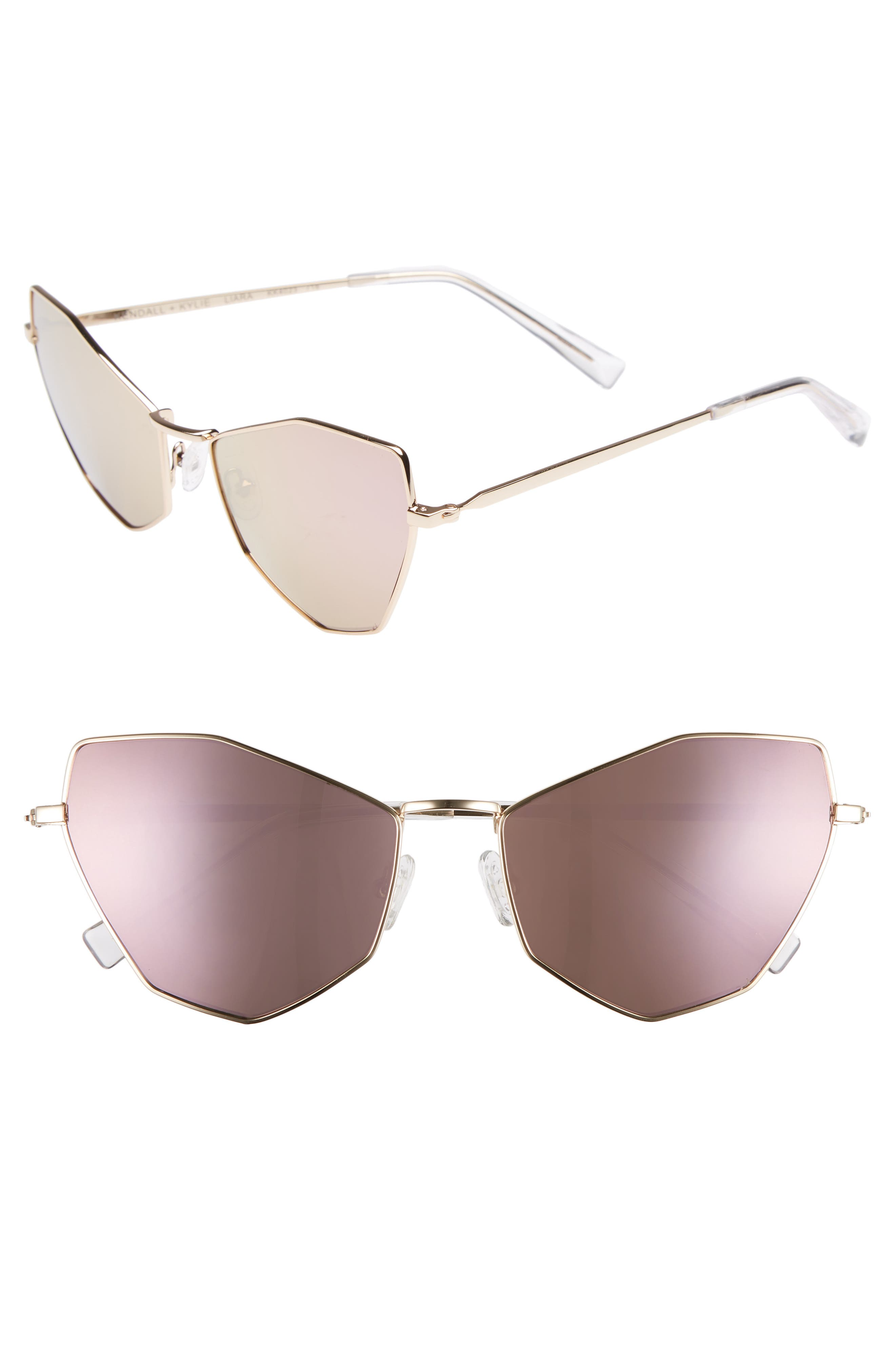 Liara 57mm Cat Eye Sunglasses,                         Main,                         color, Light Gold/ Rose Gold Flash