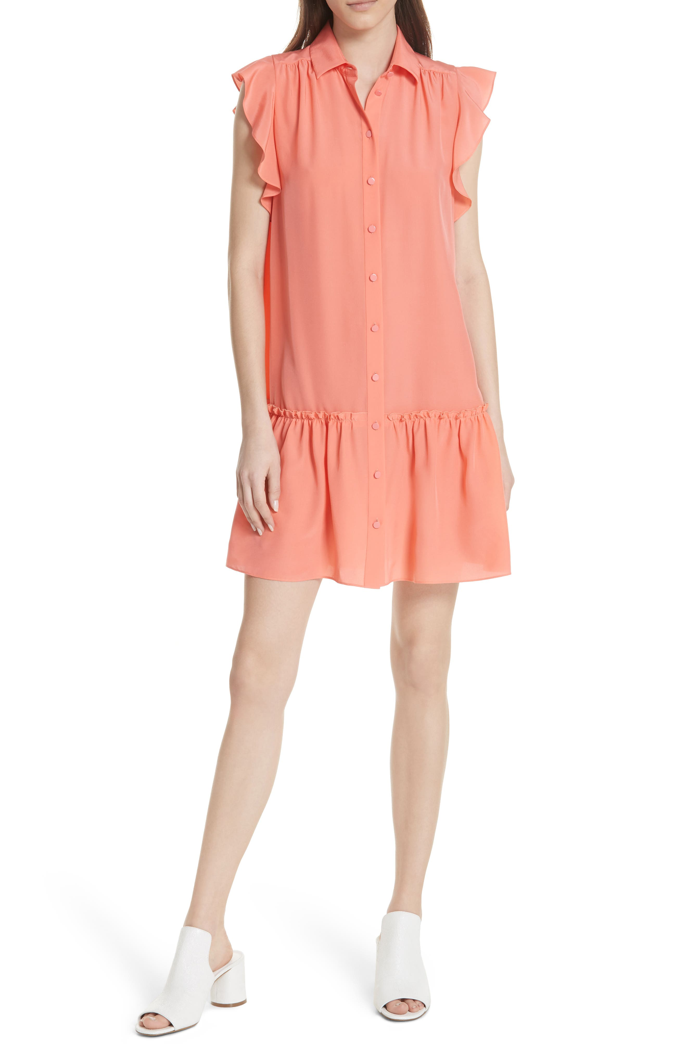 drop waist silk dress,                             Main thumbnail 1, color,                             Apricot Sorbet