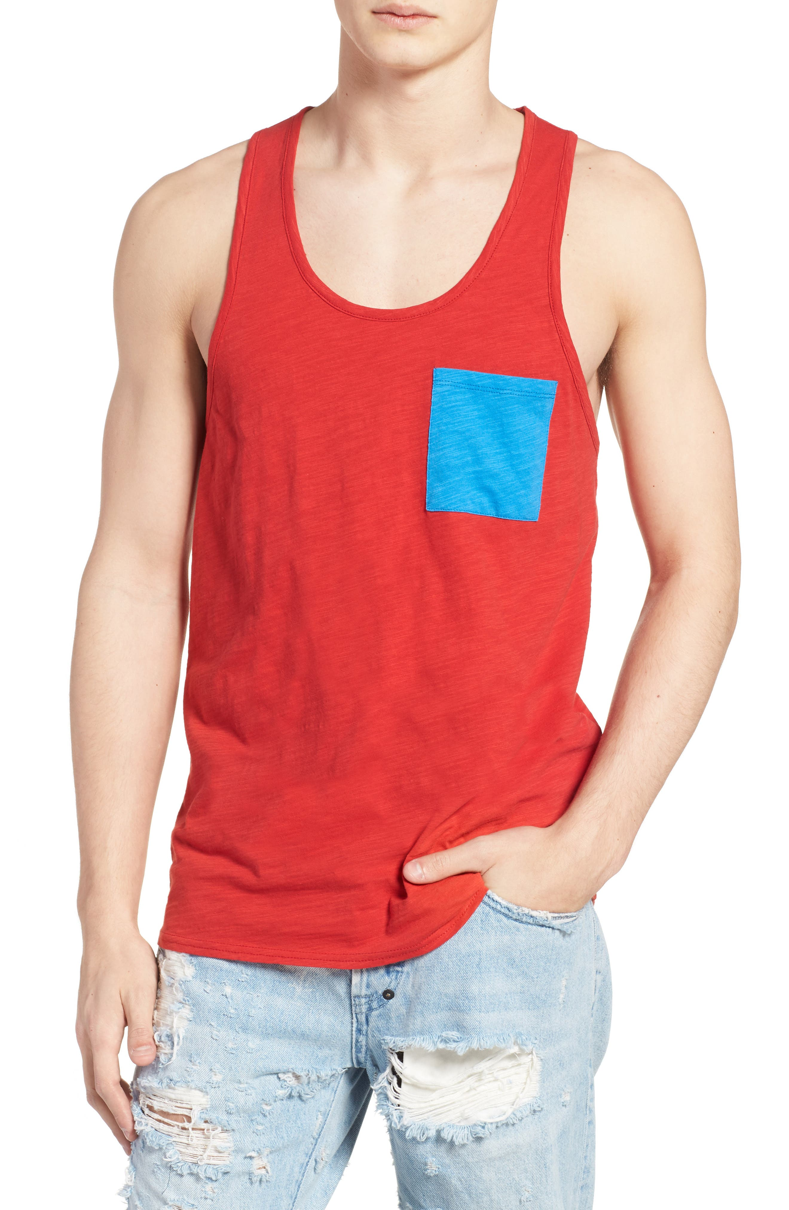 Contrast Pocket Tank,                             Main thumbnail 1, color,                             Red Pompeii