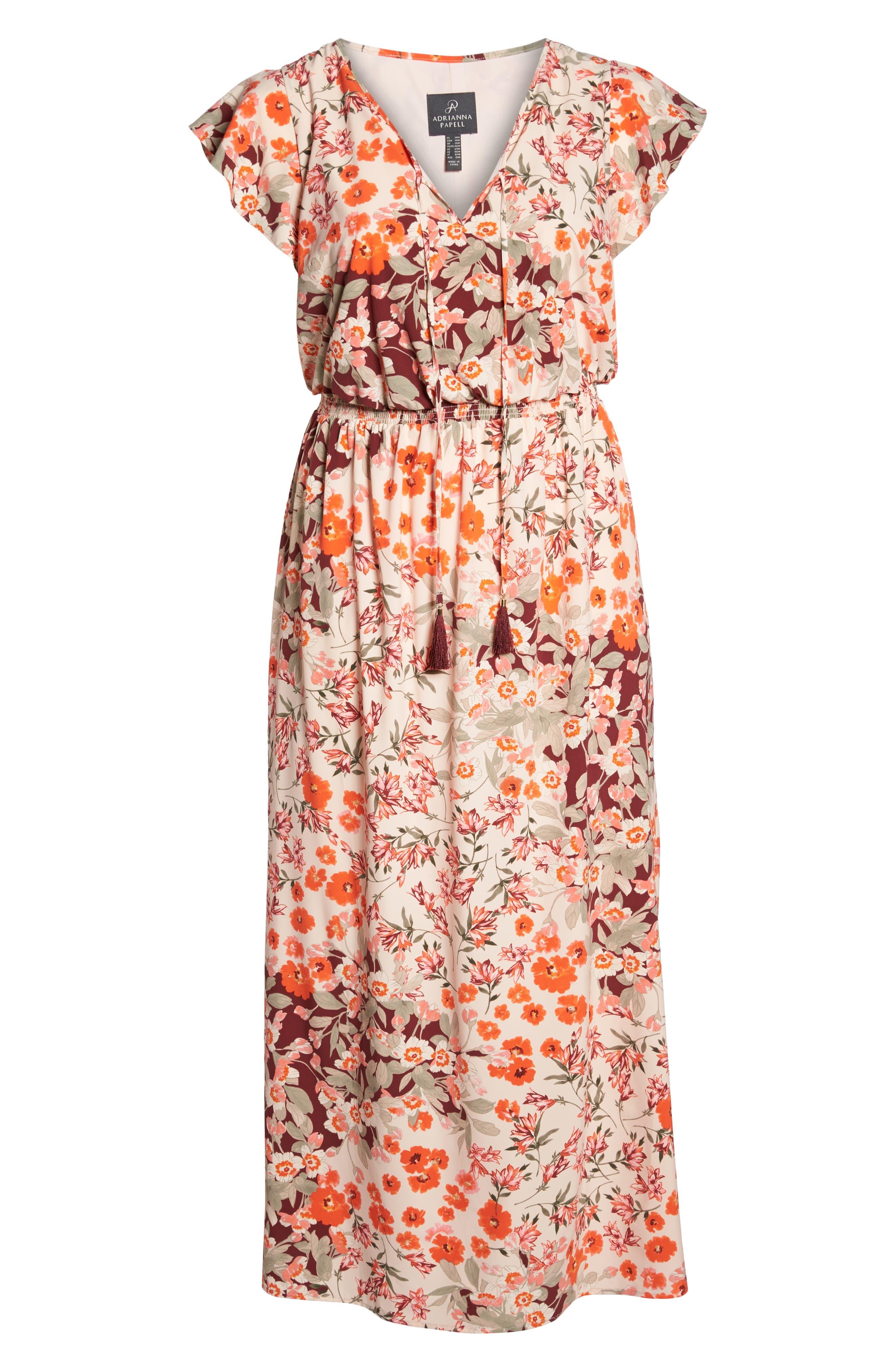 Floral Ruffle Sleeve Maxi Dress,                             Alternate thumbnail 7, color,                             Geranium Multi
