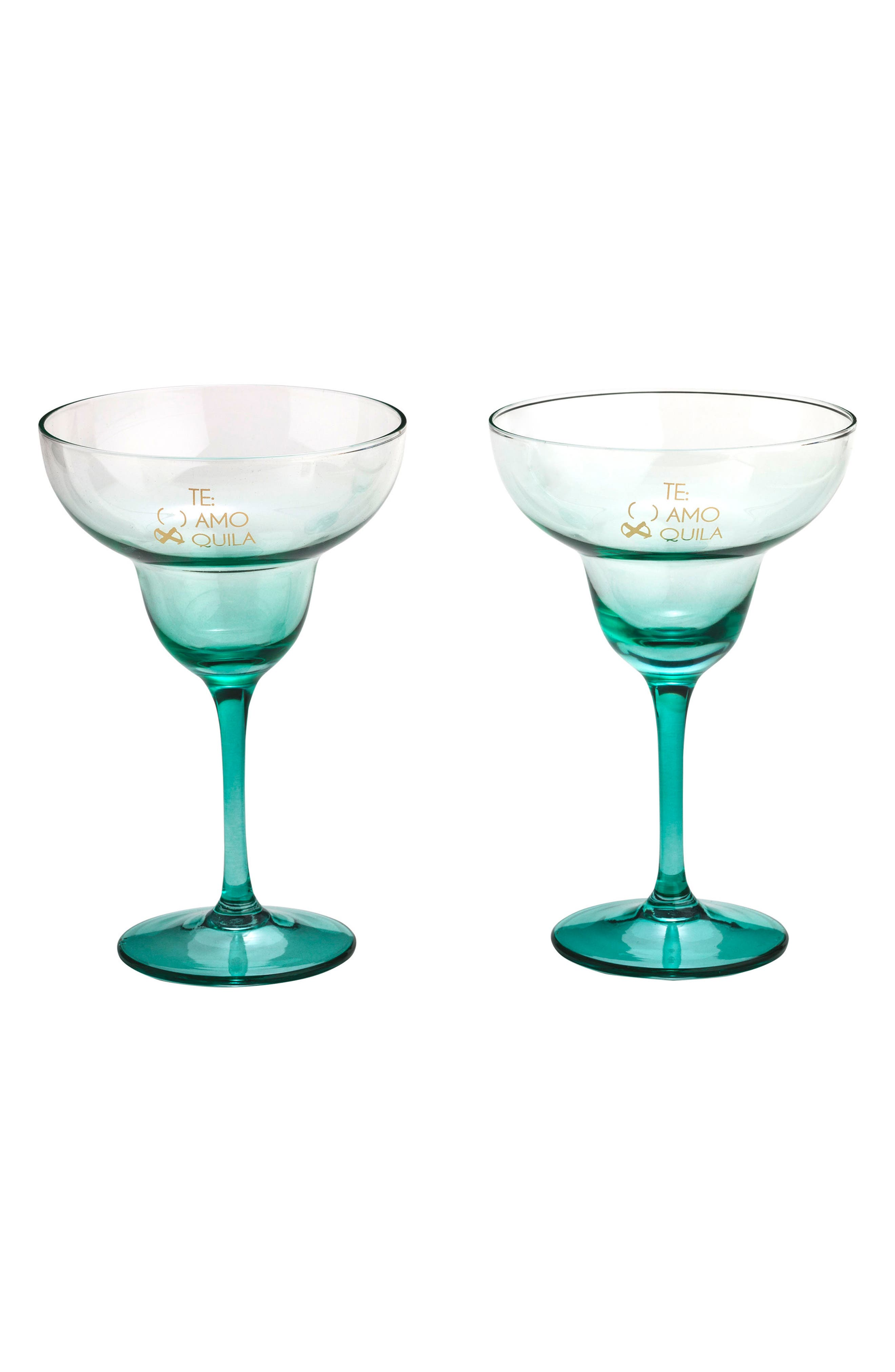 Te Amo x Quila Set of 2 Margarita Glasses,                             Main thumbnail 1, color,                             Glass/ Gold