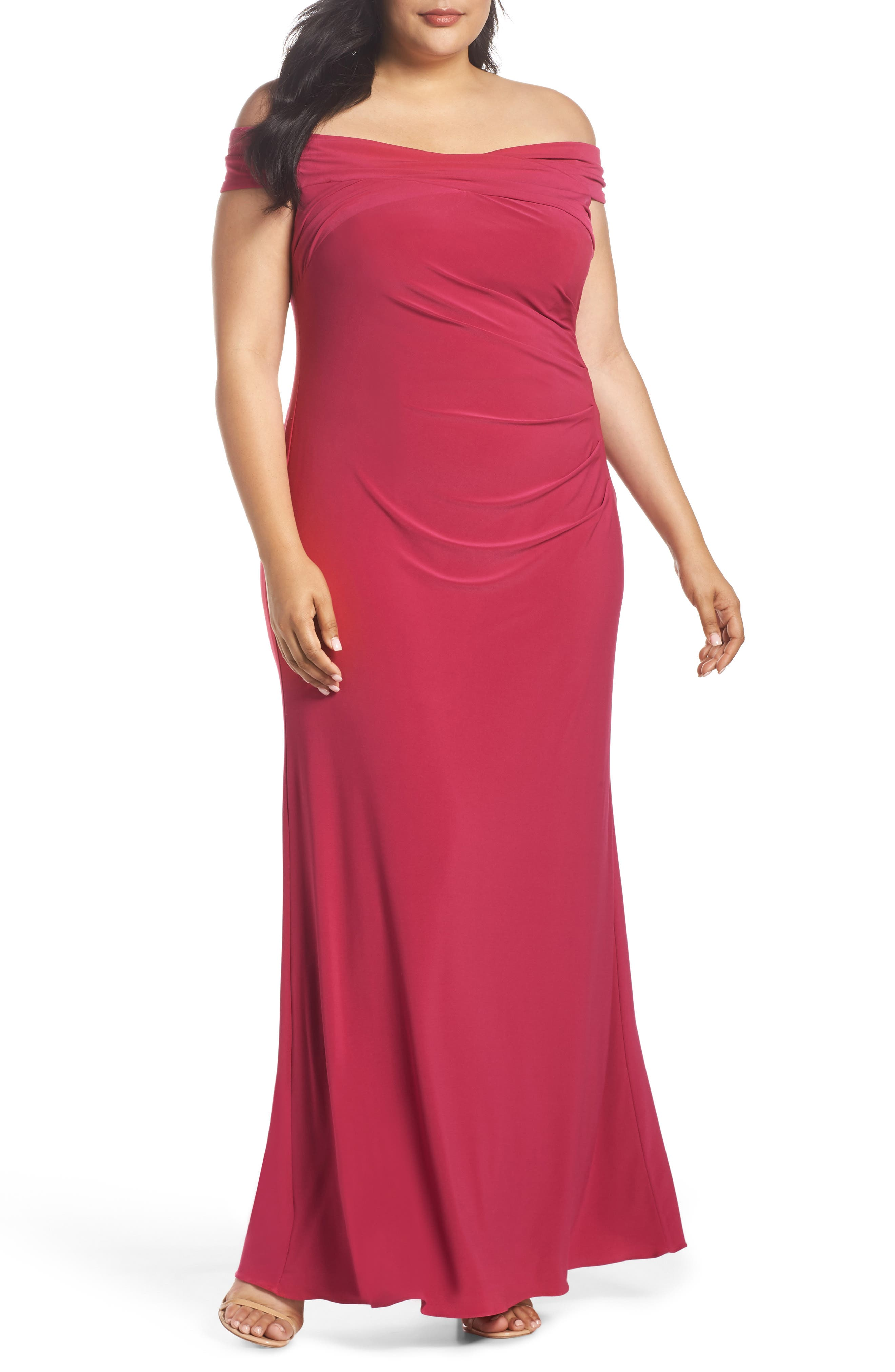 Adrianna Papell Off the Shoulder Jersey Dress (Plus Size)