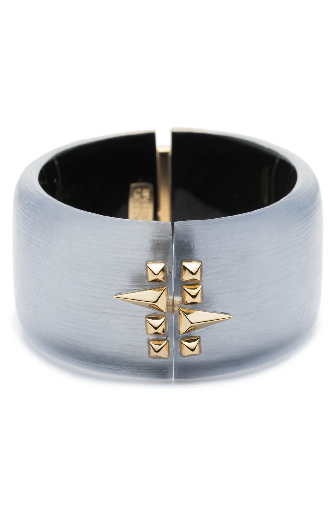 Golden Studded Hinge Bracelet,                             Alternate thumbnail 3, color,                             Steel Blue