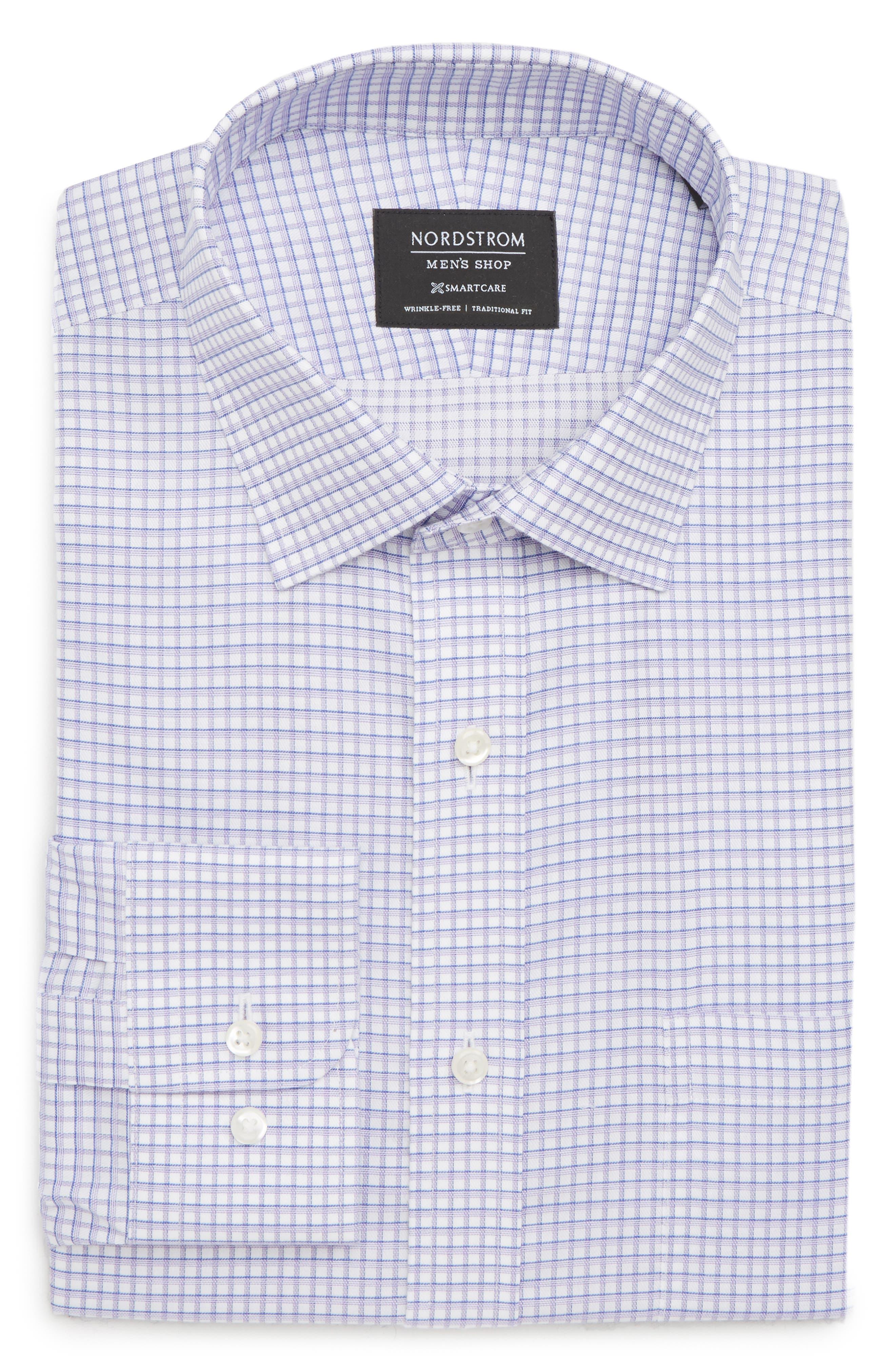Smartcare<sup>™</sup> Traditional Fit Check Sport Shirt,                             Alternate thumbnail 6, color,                             Purple Dahlia