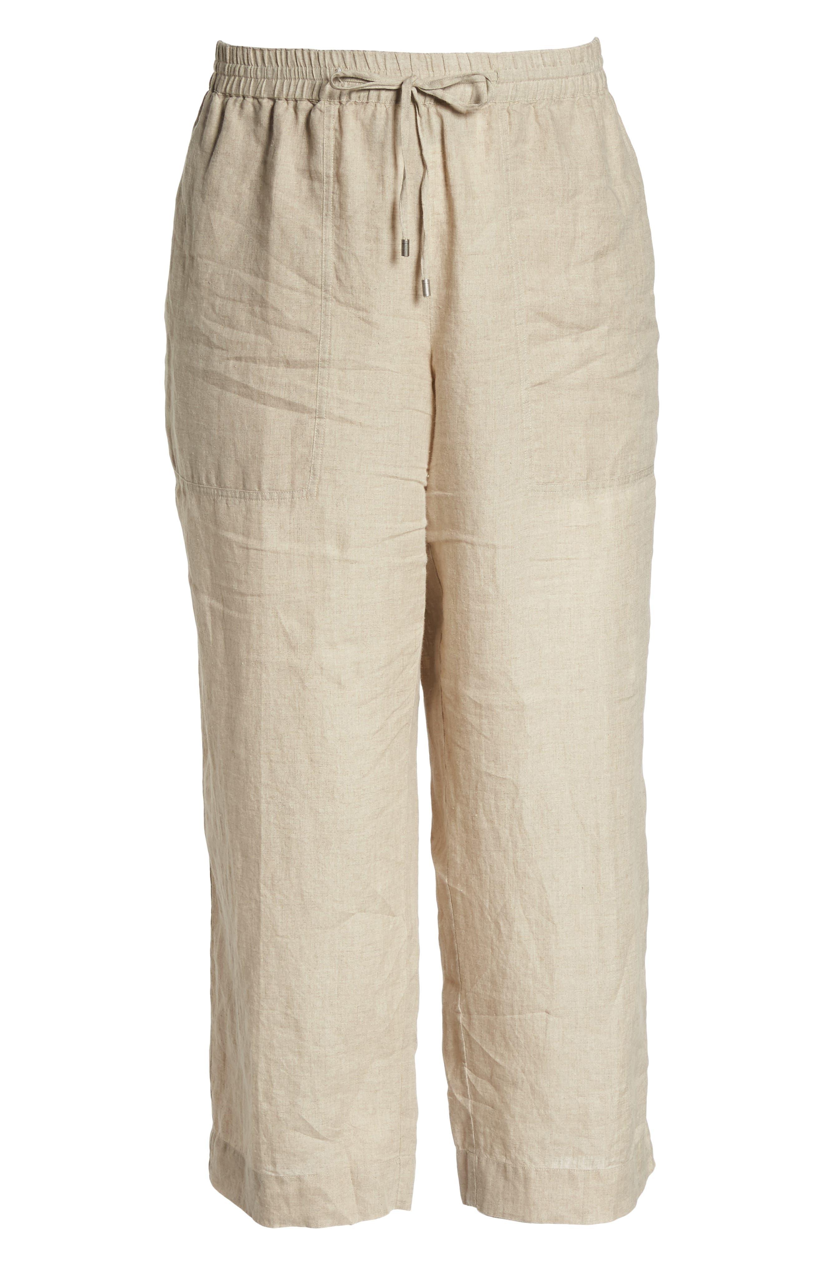Organic Linen Ankle Pants,                             Alternate thumbnail 7, color,                             Undyed Natural