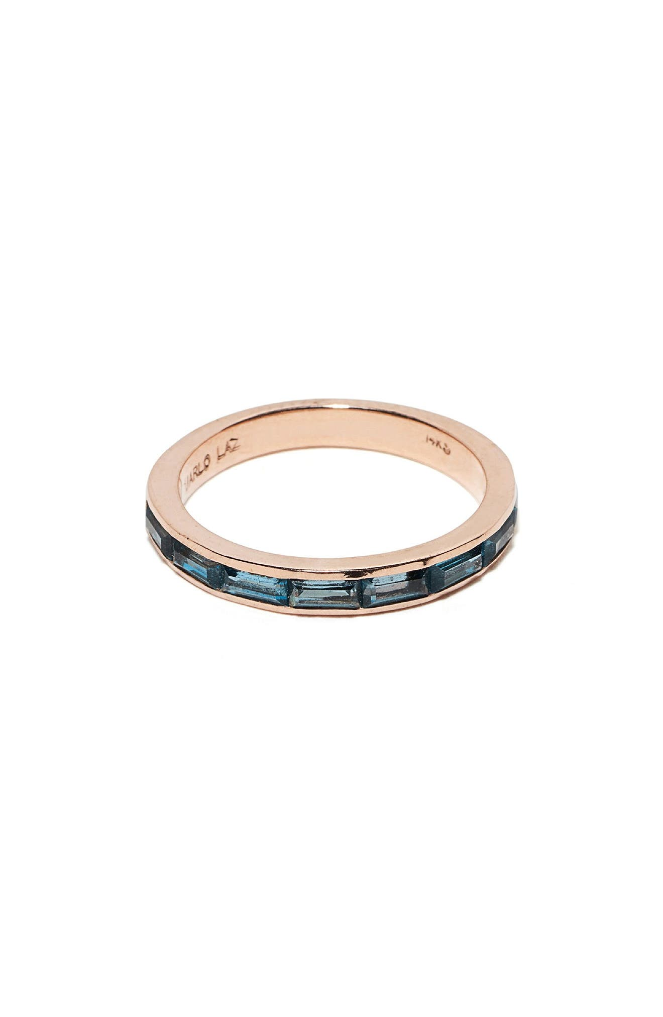 Blue Topaz Baguette Ring,                             Main thumbnail 1, color,                             Rose Gold