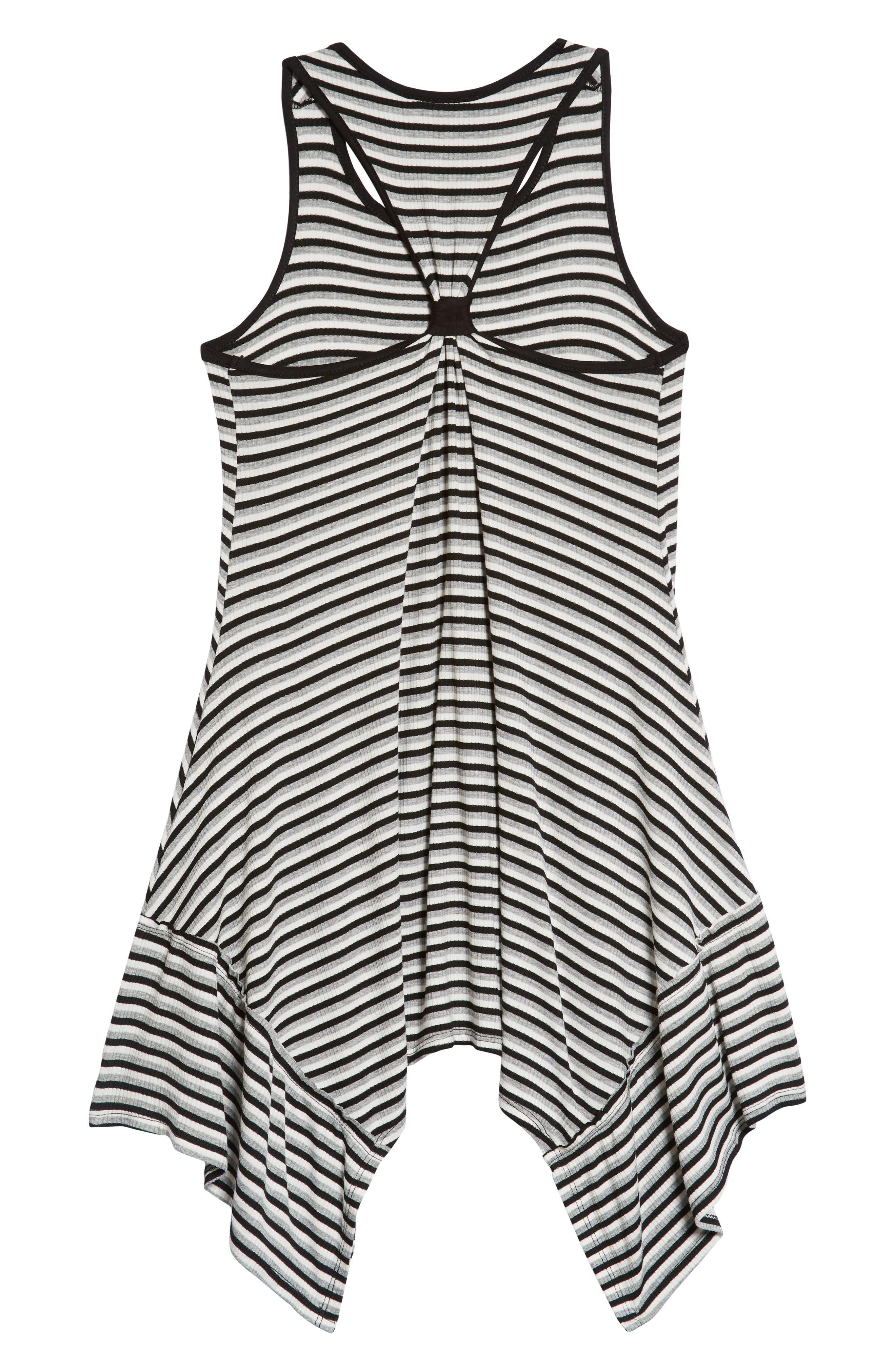 Racerback Stripe Handkerchief Dress,                             Alternate thumbnail 2, color,                             Grey/ Black