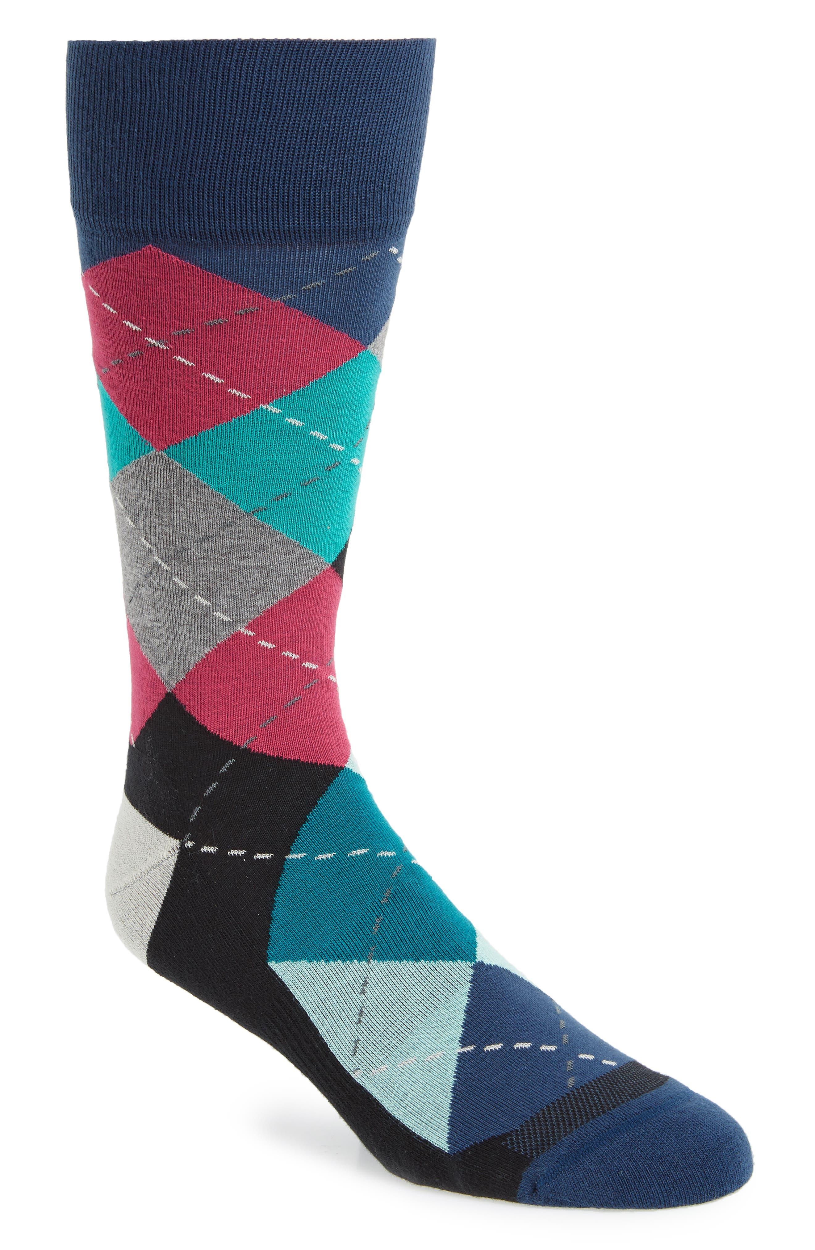 Argyle Socks,                         Main,                         color, Navy/ Red