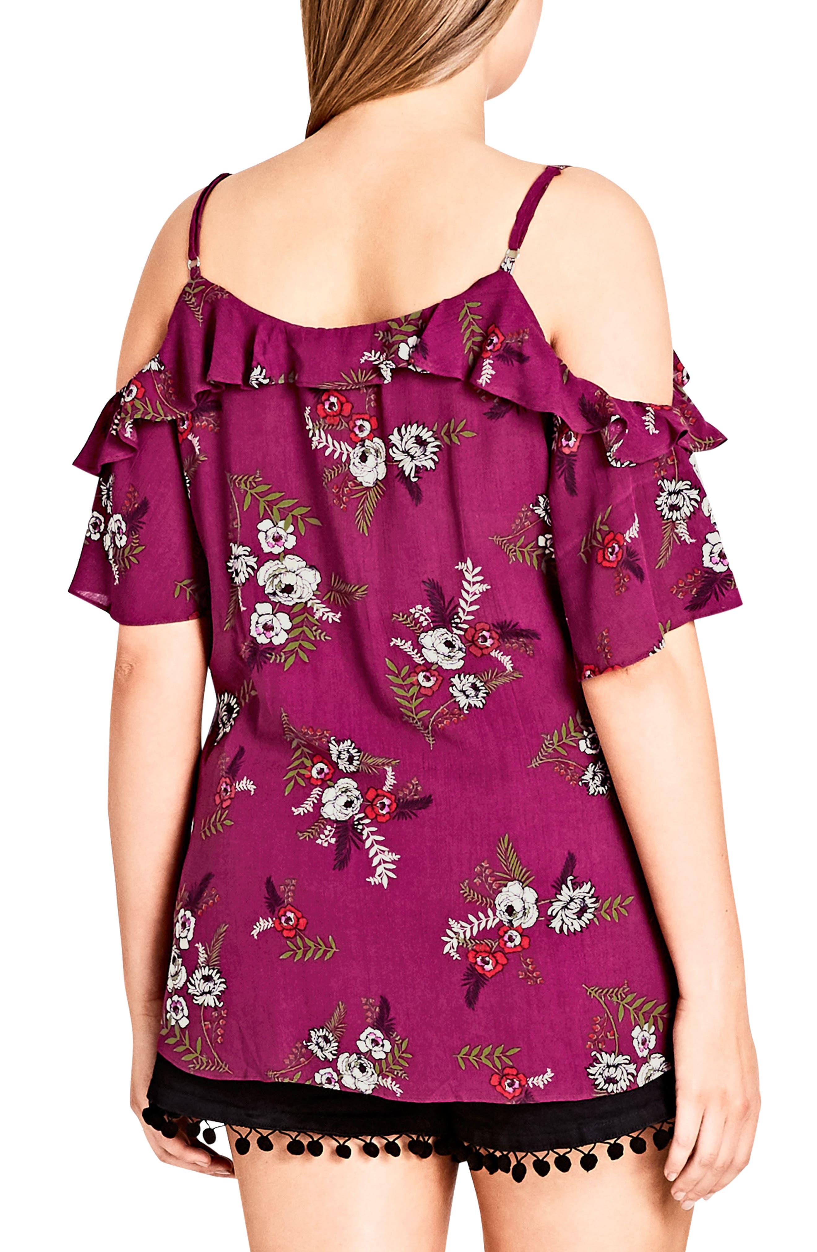 Agave Floral Cold Shoulder Top,                             Alternate thumbnail 3, color,                             Agave Floral