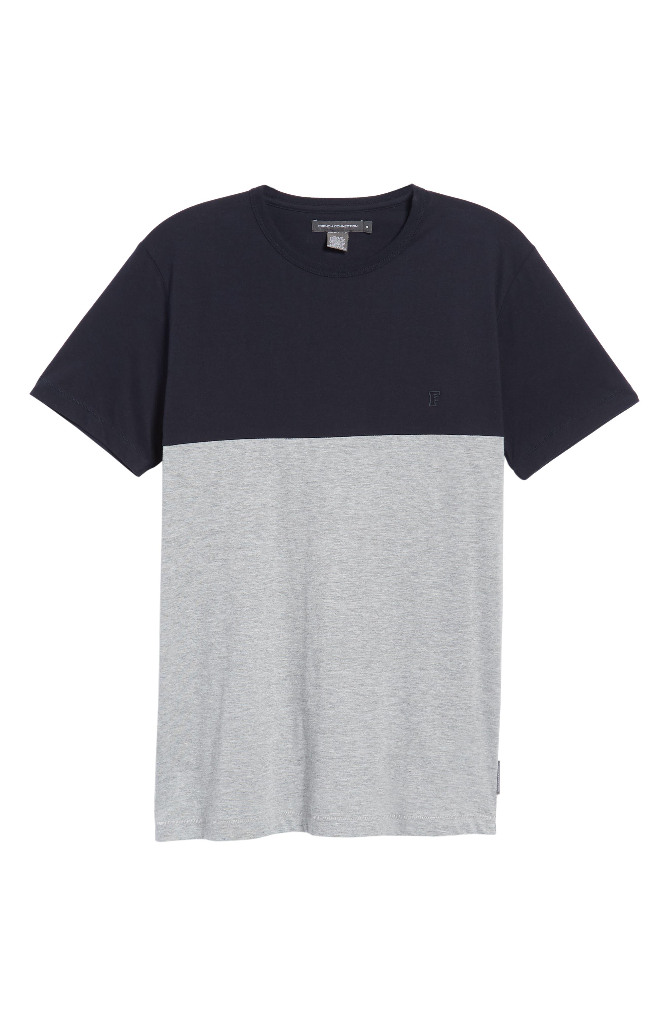 Block Crewneck T-Shirt,                             Alternate thumbnail 6, color,                             Marine Blue Light Grey