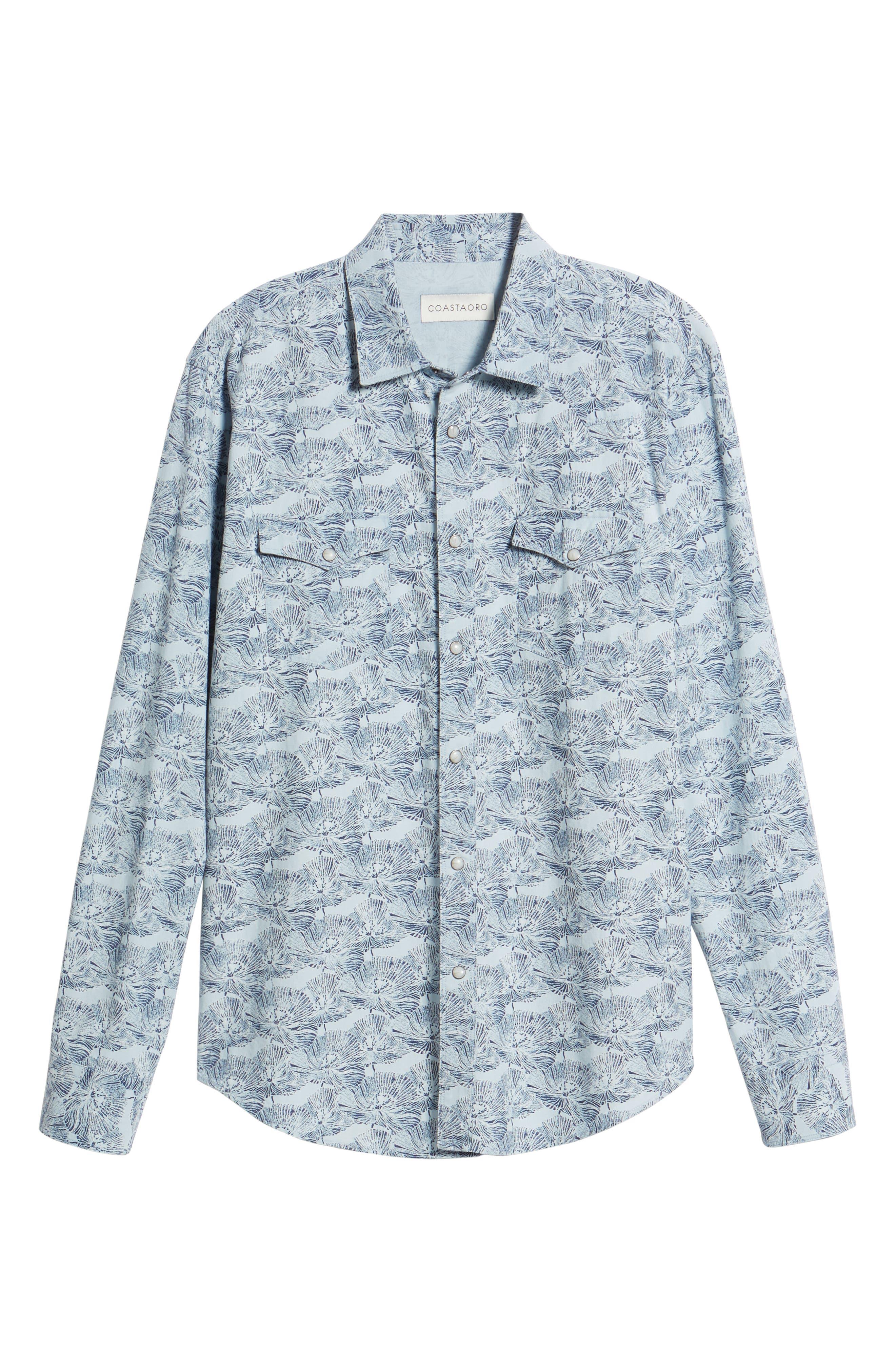 Zumas Vaquero Regular Fit Floral Sport Shirt,                             Alternate thumbnail 6, color,                             Indigo