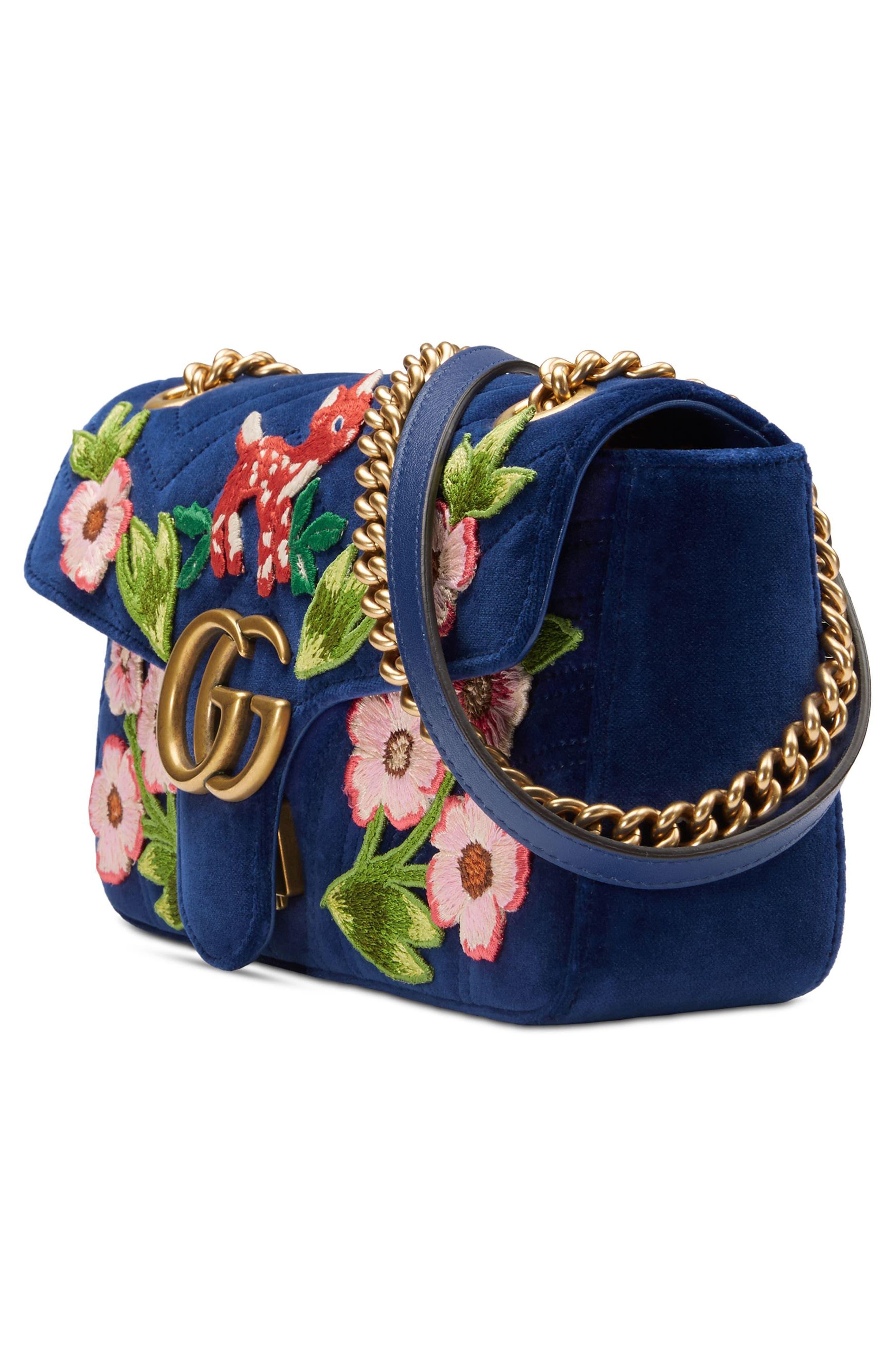 Small GG Marmont 2.0 Matelassé Velvet Shoulder Bag,                             Alternate thumbnail 4, color,                             Cobalt/ Cobalt Multicolor
