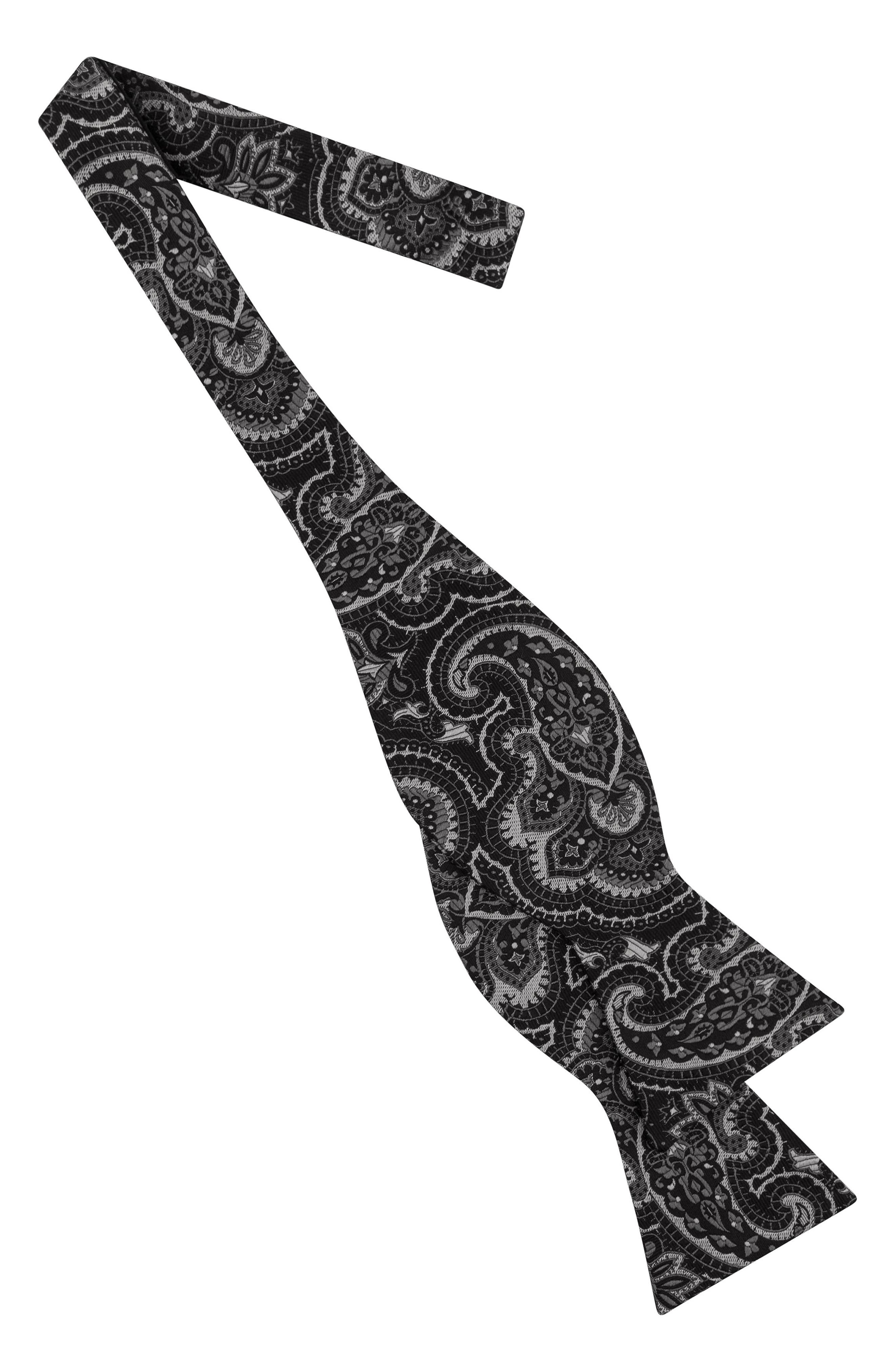 Paisley Silk Bow Tie,                             Alternate thumbnail 2, color,                             Black