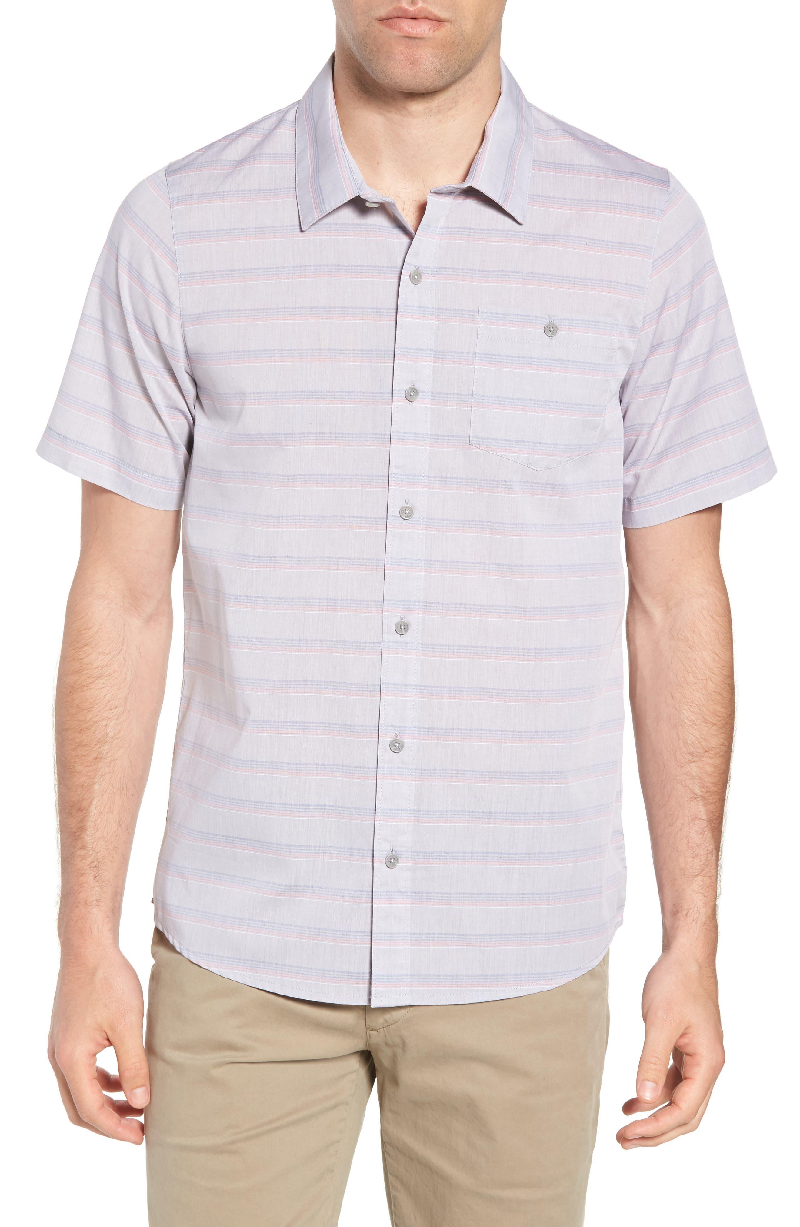 Comet Regular Fit Short Sleeve Sport Shirt,                         Main,                         color, Heather Sharkskin