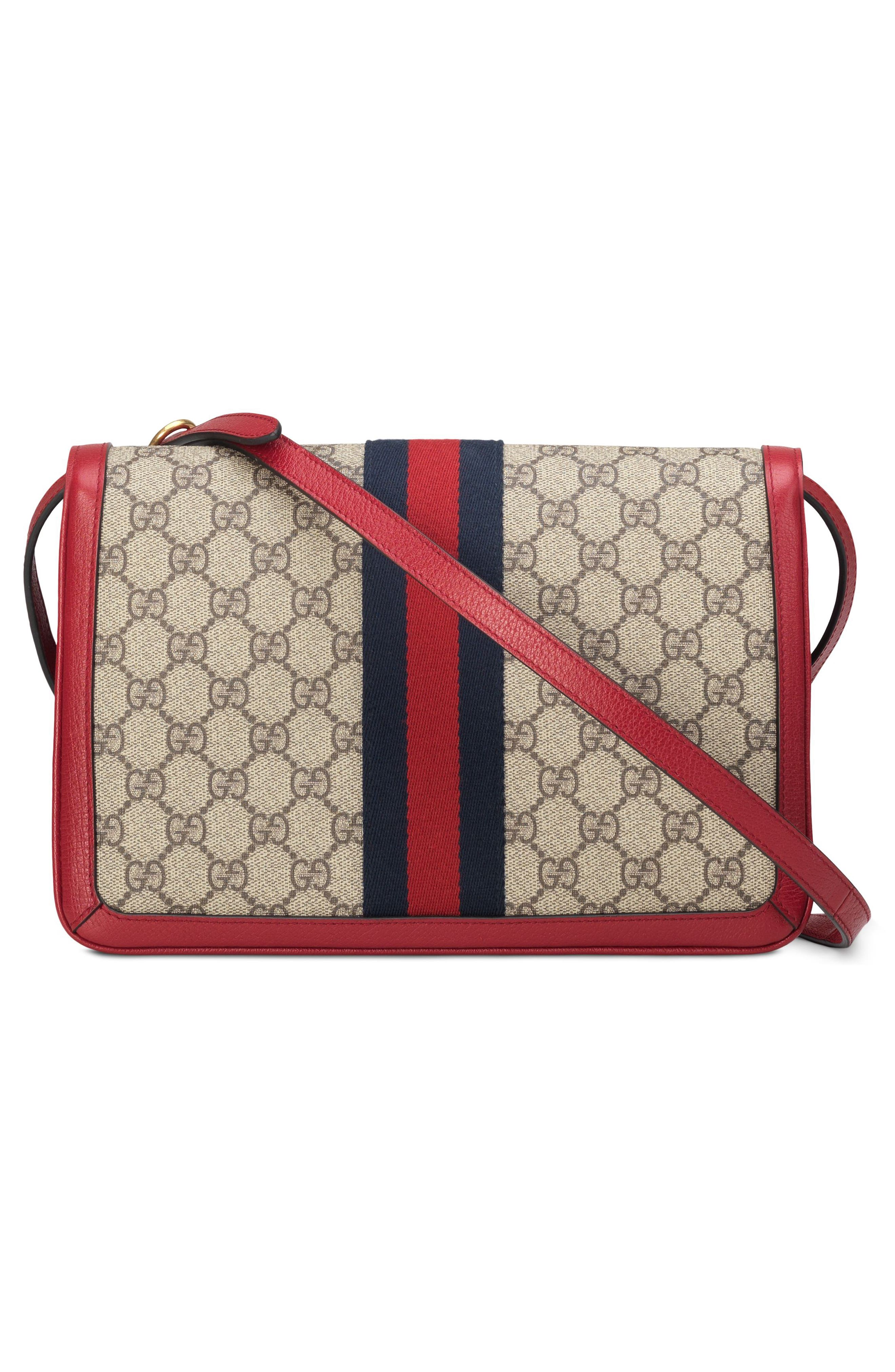 Queen Margaret GG Supreme Small Crossbody Bag,                             Alternate thumbnail 2, color,                             Beige Ebony/ Blue Red/ Ruby