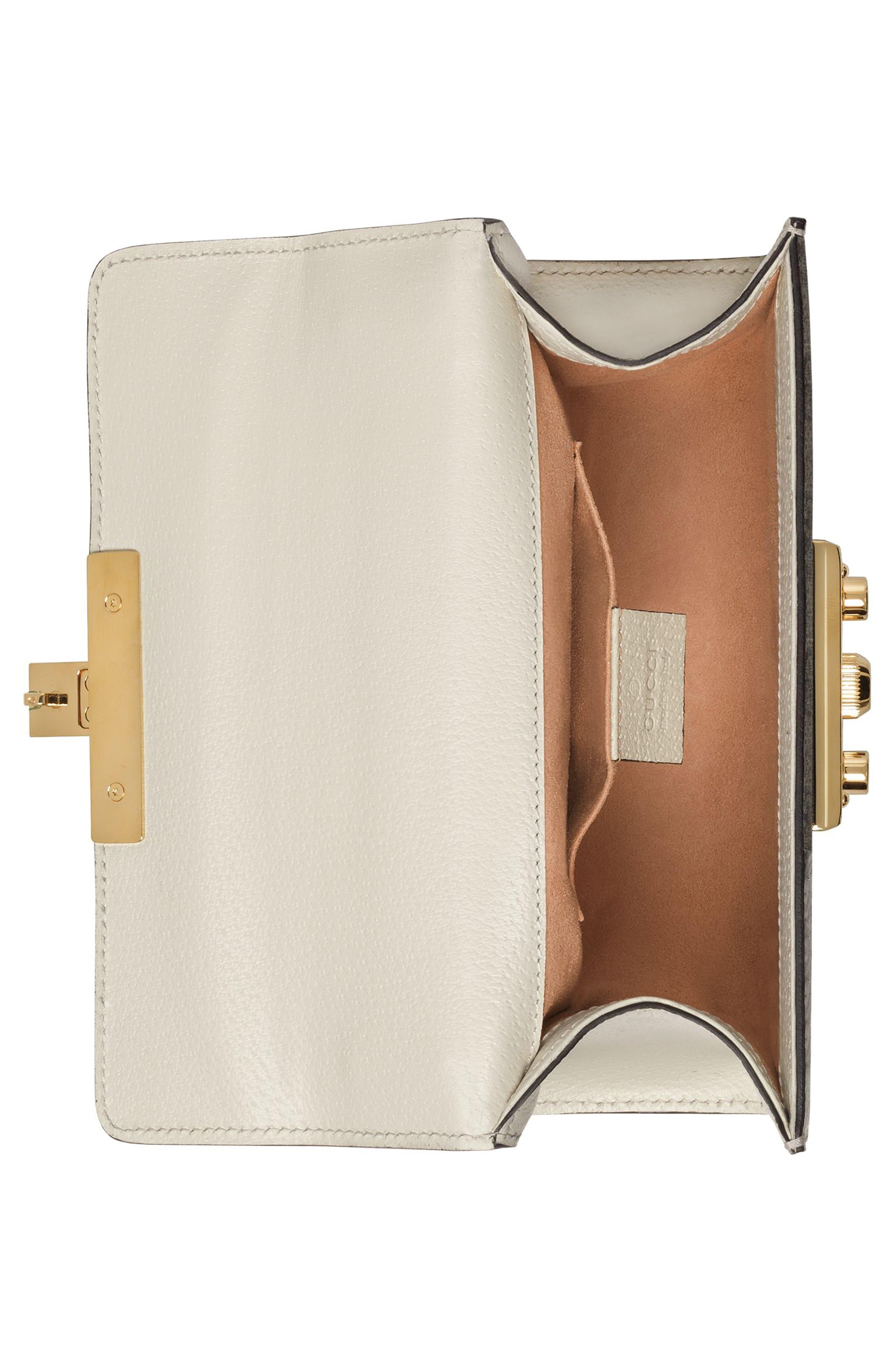 Small Padlock GG Supreme Wave Shoulder Bag with Genuine Snakeskin Trim,                             Alternate thumbnail 3, color,                             White/ Roccia/ Beige Ebony