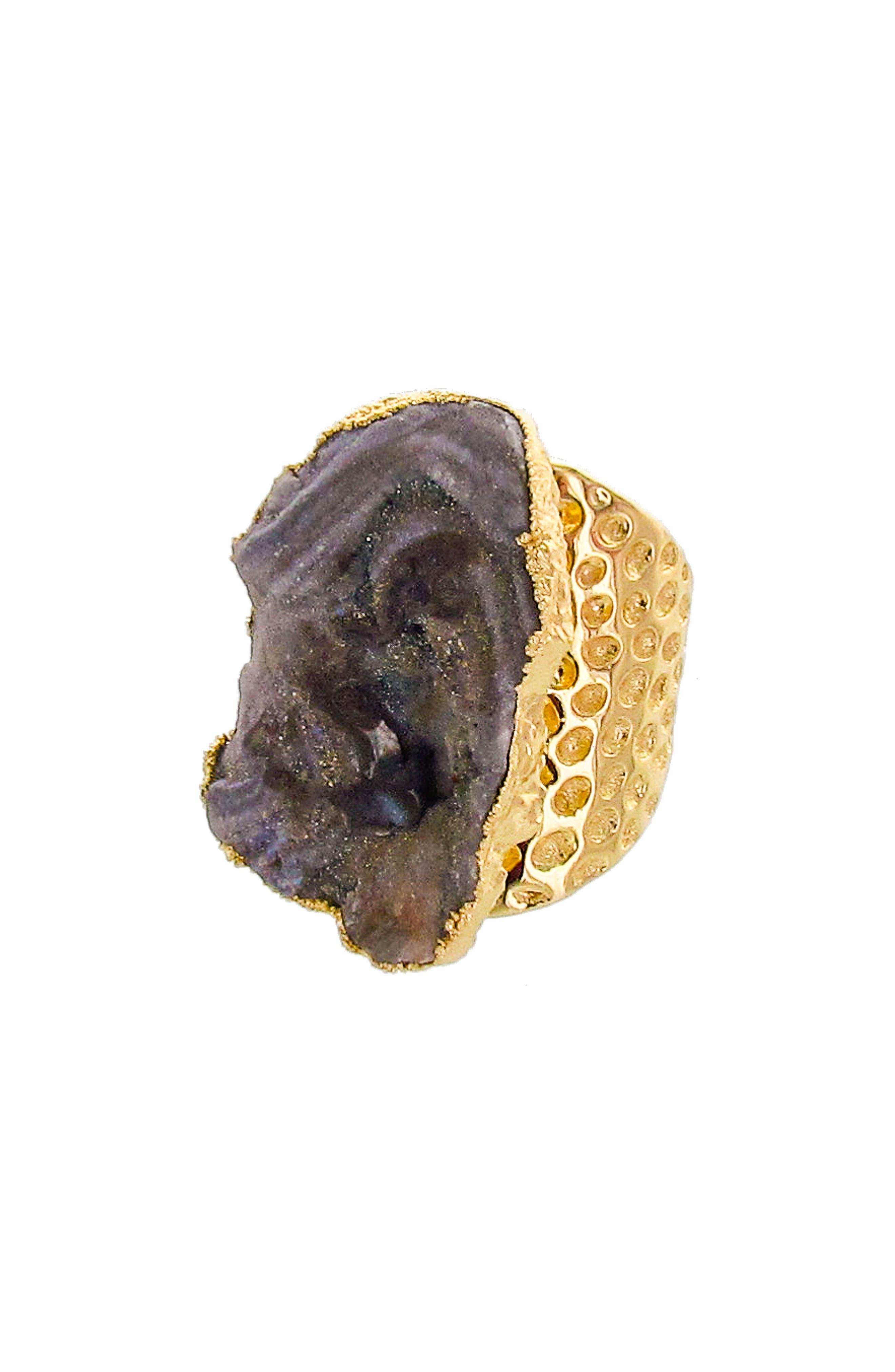 Sunstone Drusy Statement Ring,                         Main,                         color, Dark Grey