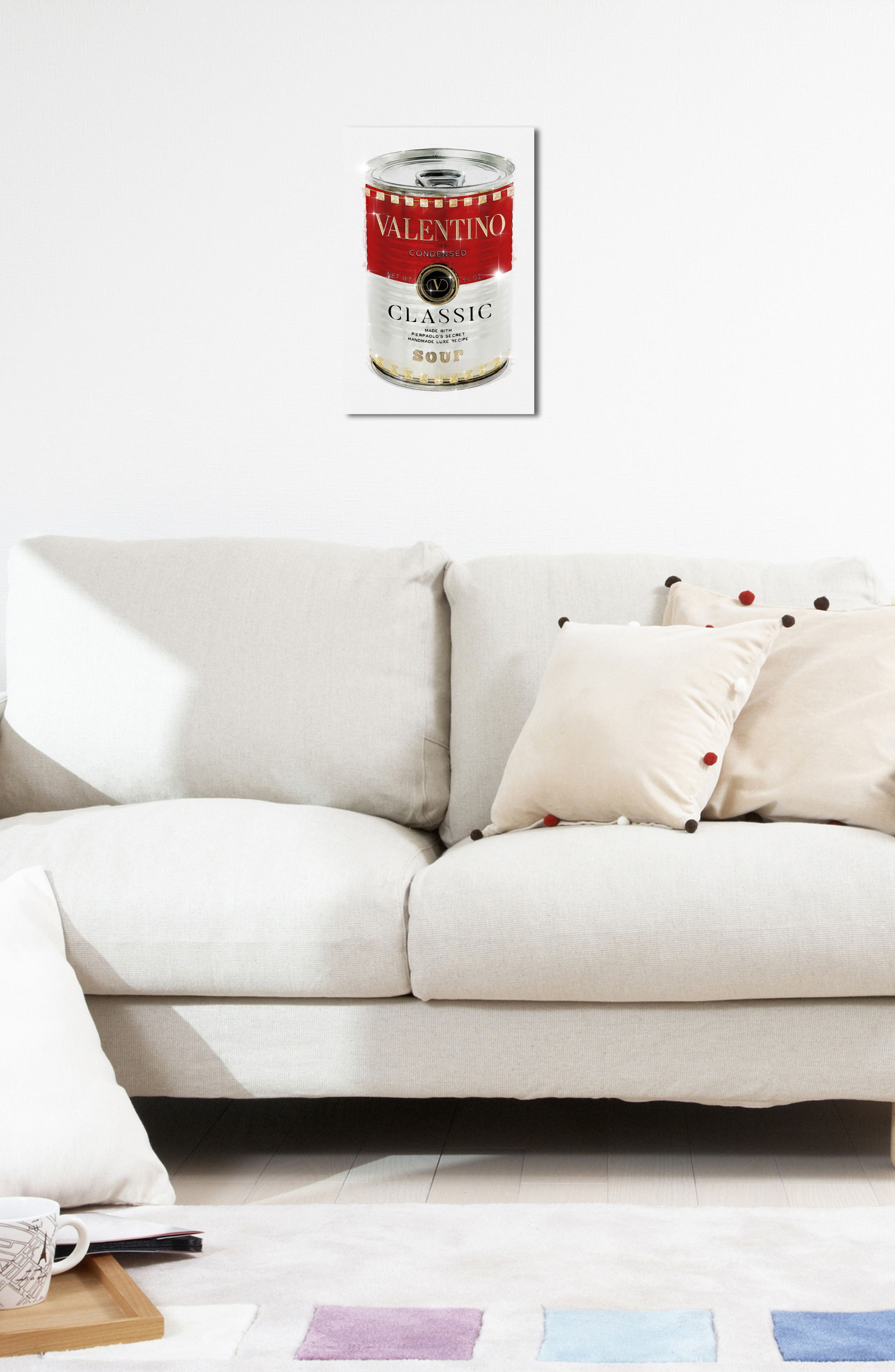 Rockstud Soup Canvas Wall Art,                             Alternate thumbnail 5, color,                             Red