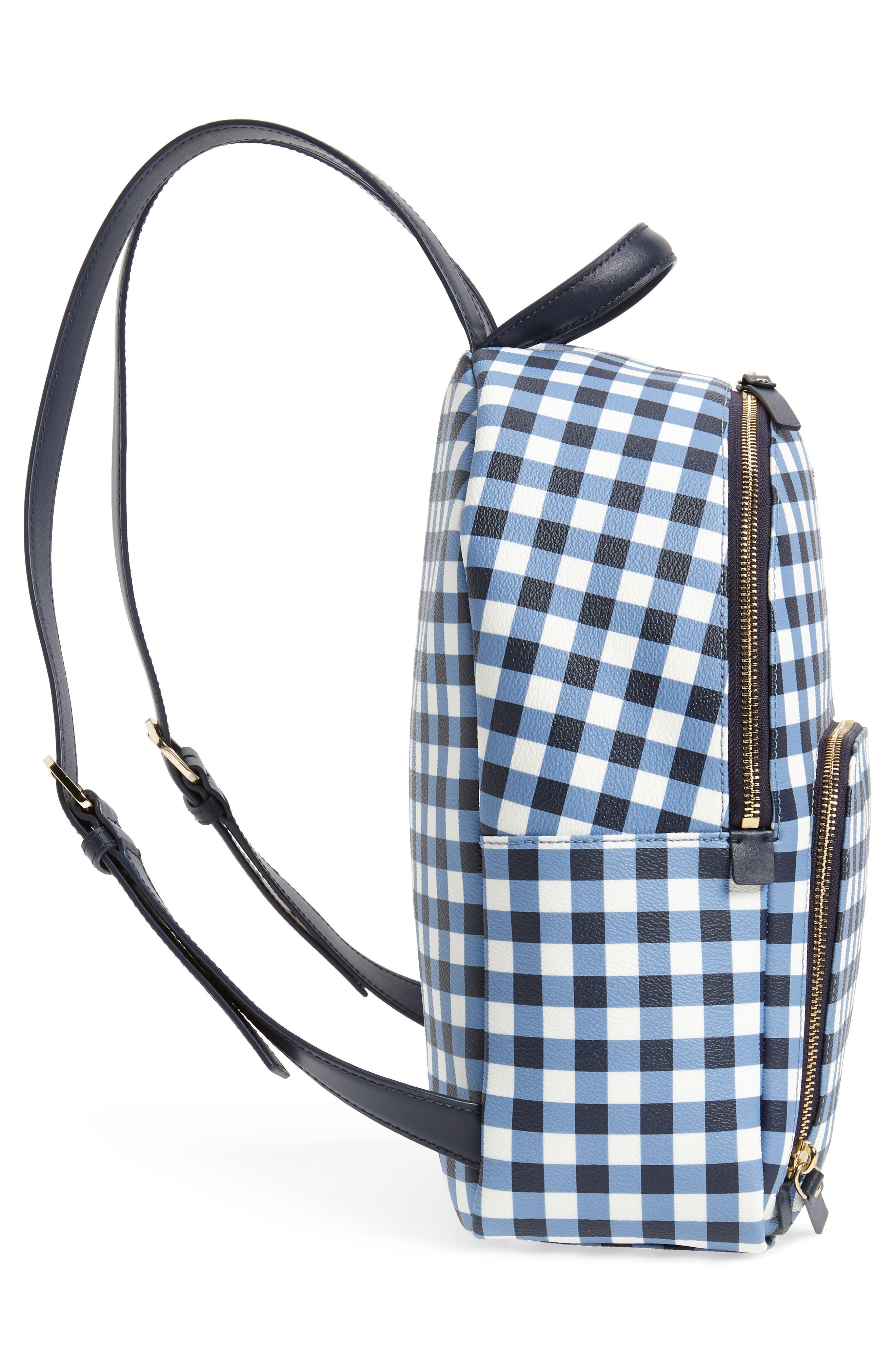 hyde lane hartley gingham backpack,                             Alternate thumbnail 5, color,                             Navy/ White
