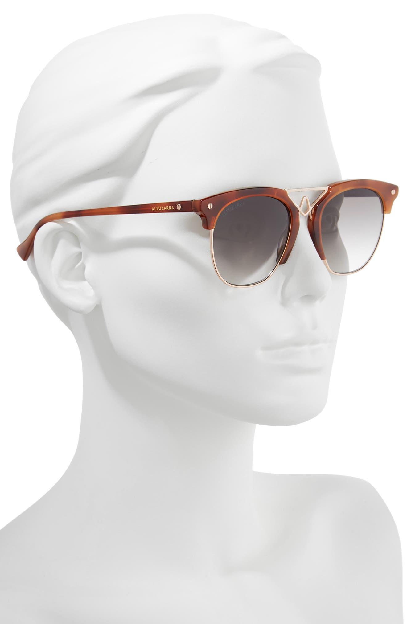 51mm Round Sunglasses,                             Alternate thumbnail 2, color,                             Havana