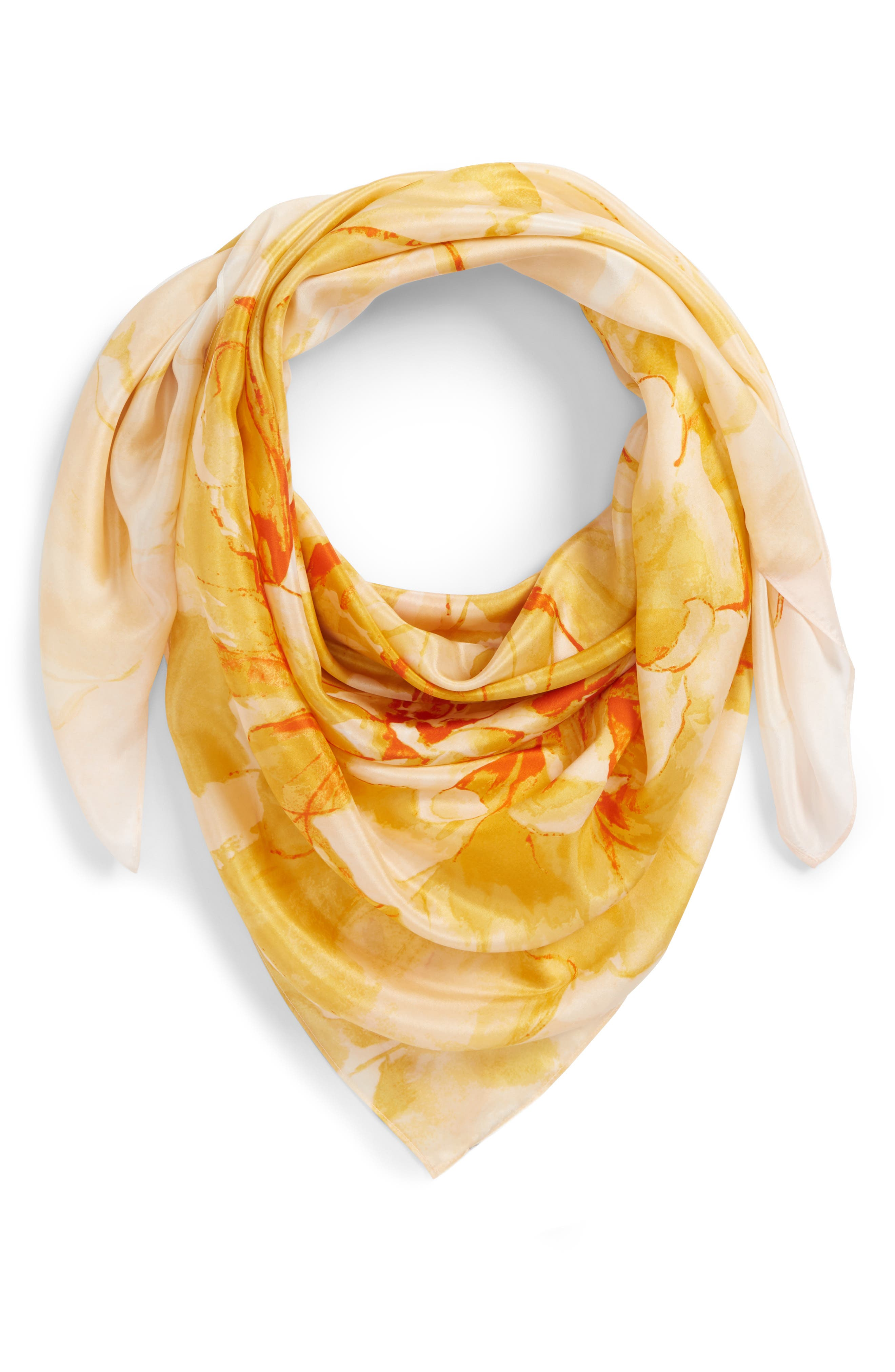 Print Silk Square Scarf,                             Main thumbnail 1, color,                             Yellow Hazy Floral