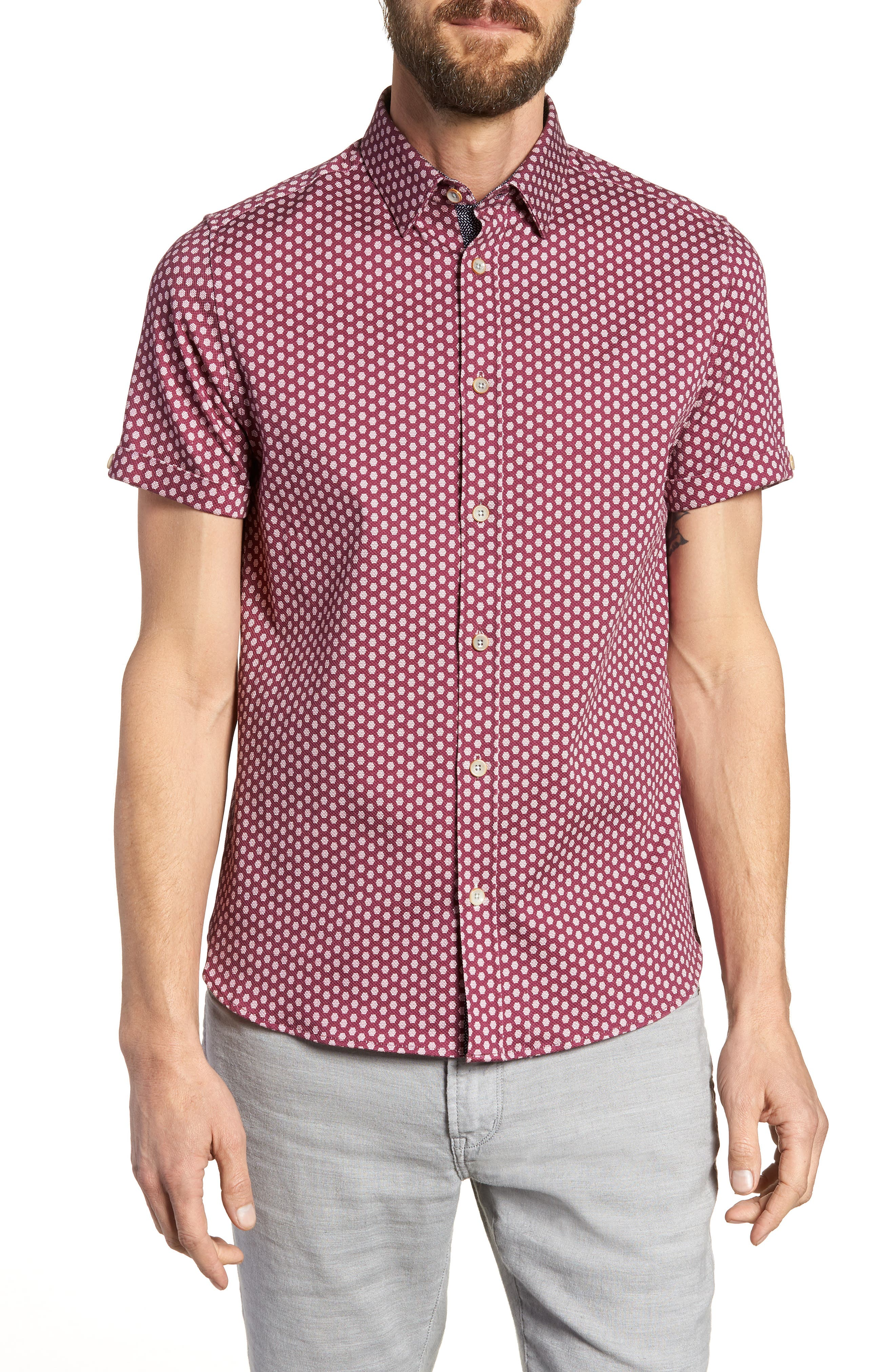 Furlaye Trim Fit Stretch Short Sleeve Sport Shirt,                         Main,                         color, Pink