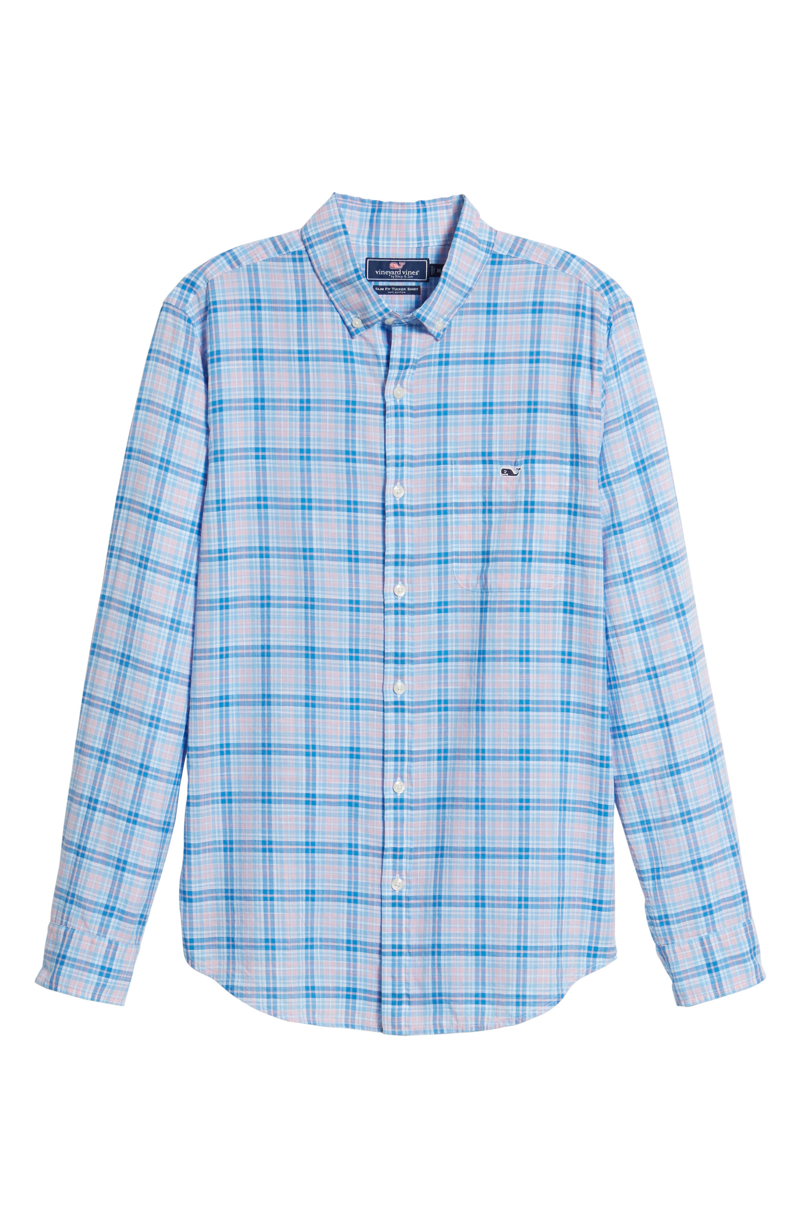 Stoney Hill Tucker Classic Fit Plaid Sport Shirt,                             Alternate thumbnail 6, color,                             Hibiscus
