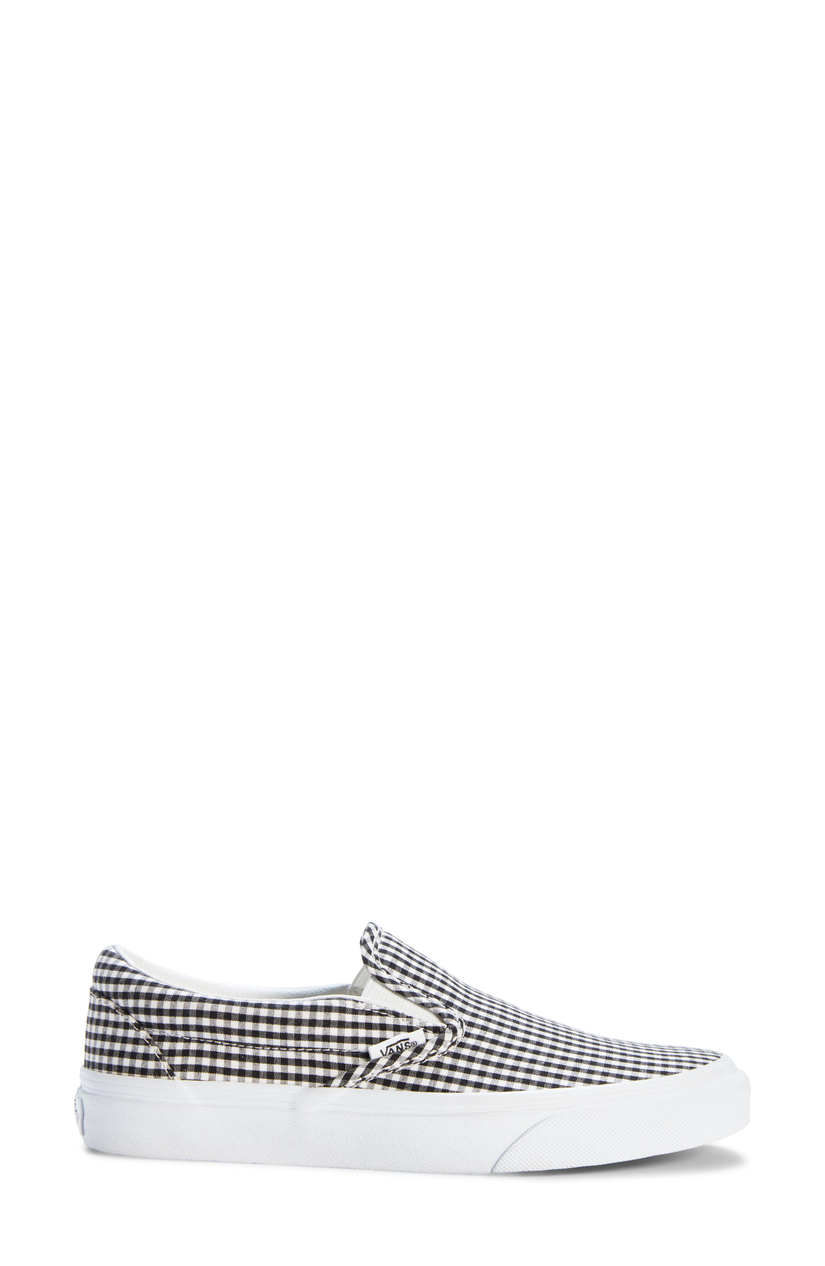 Classic Slip-On Sneaker,                             Alternate thumbnail 3, color,                             Black/ True White Gingham