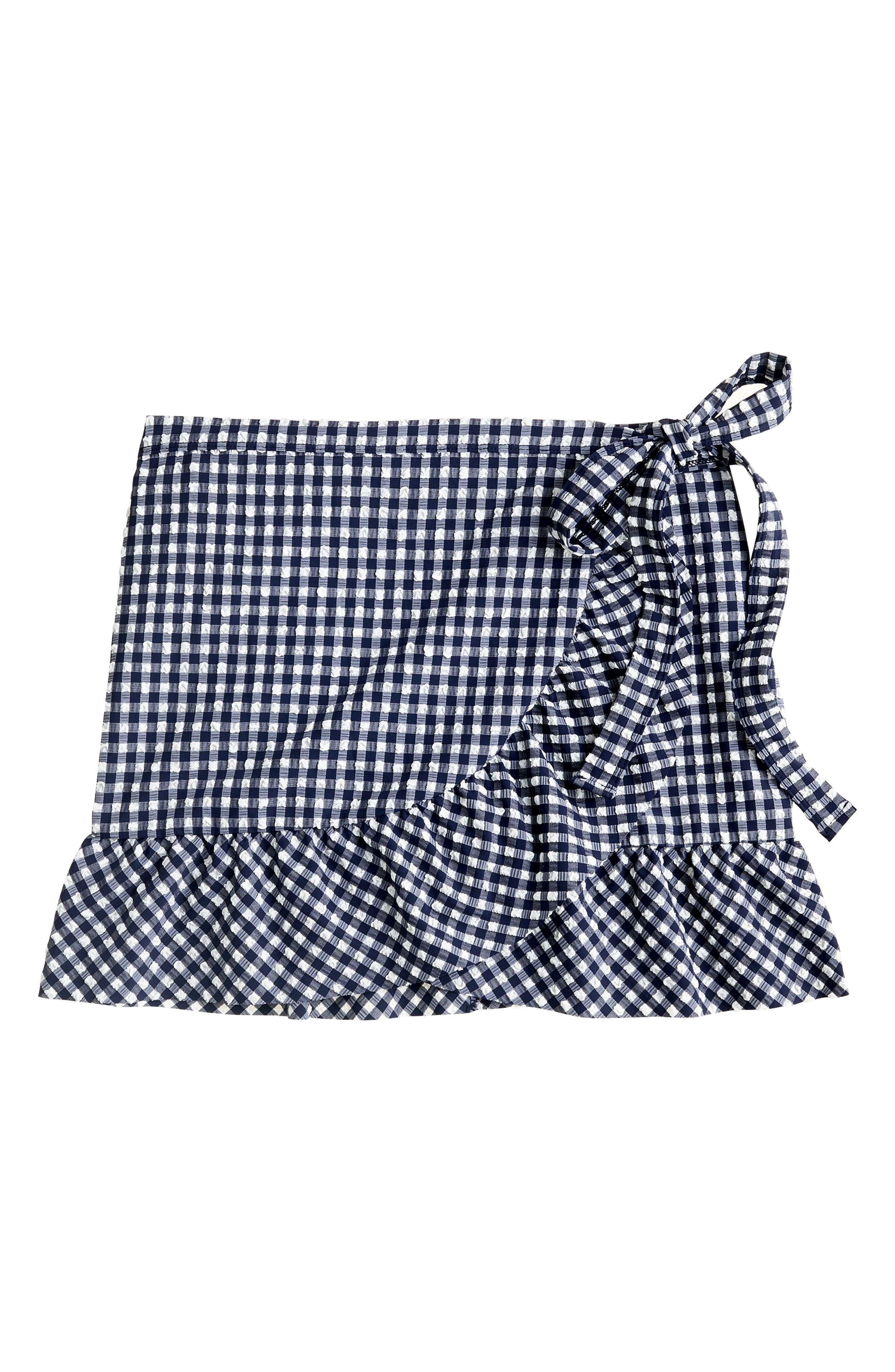 Cover-Up Wrap Skirt,                             Alternate thumbnail 4, color,                             Navy Ivory