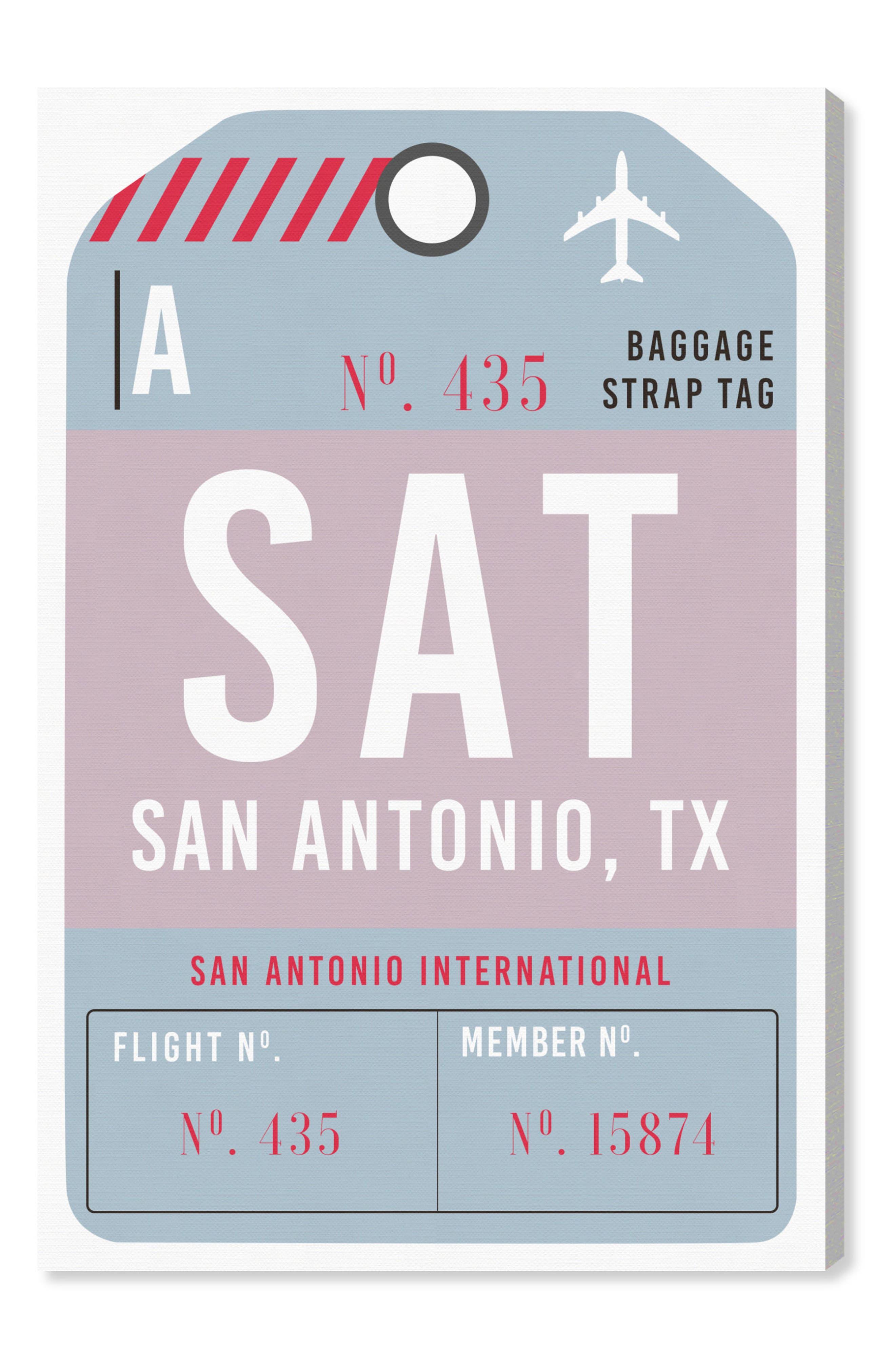 San Antonio Luggage Tag Wall Art,                         Main,                         color, Blue