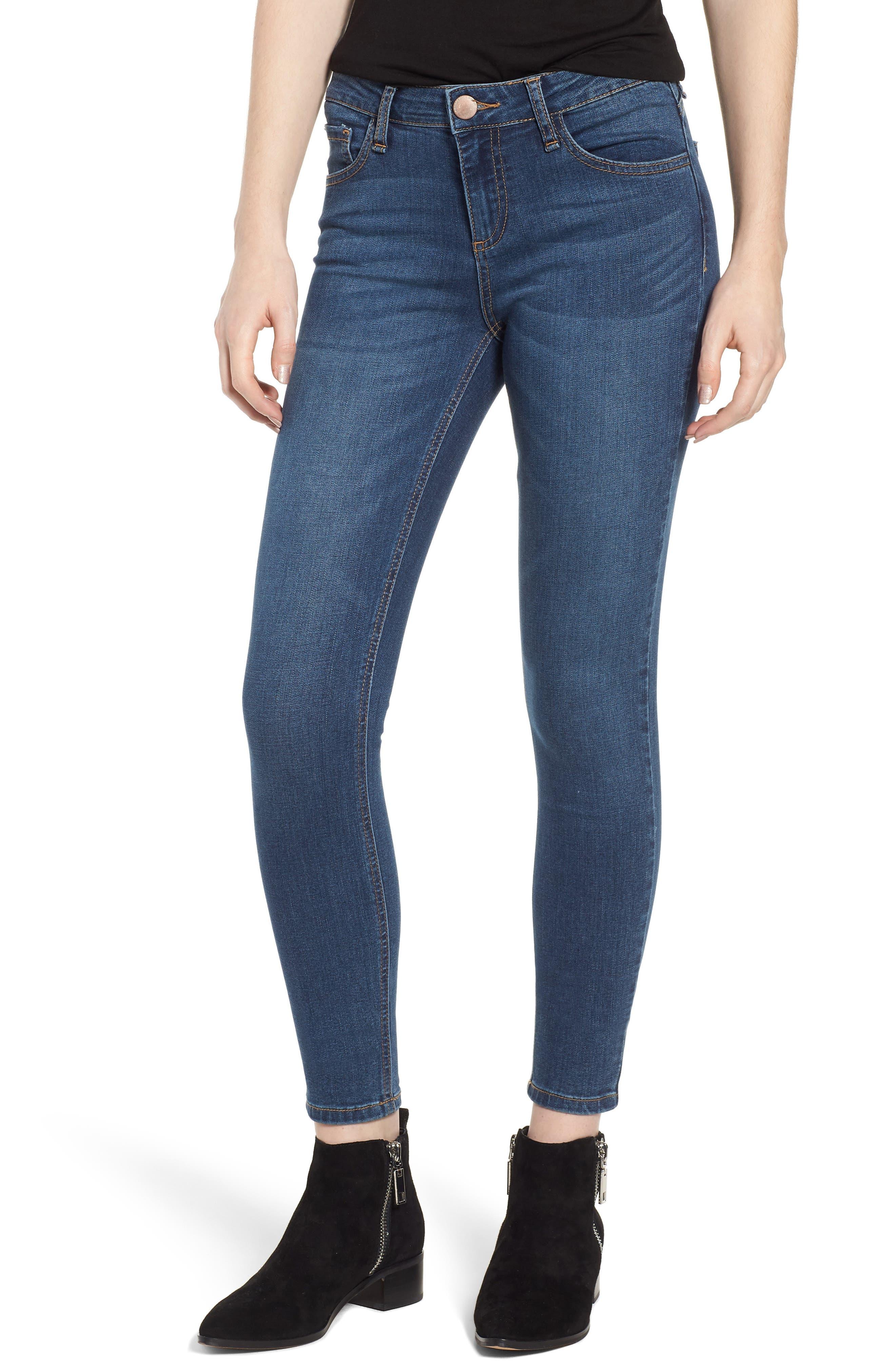 Skinny Jeans,                             Main thumbnail 1, color,                             Fringy