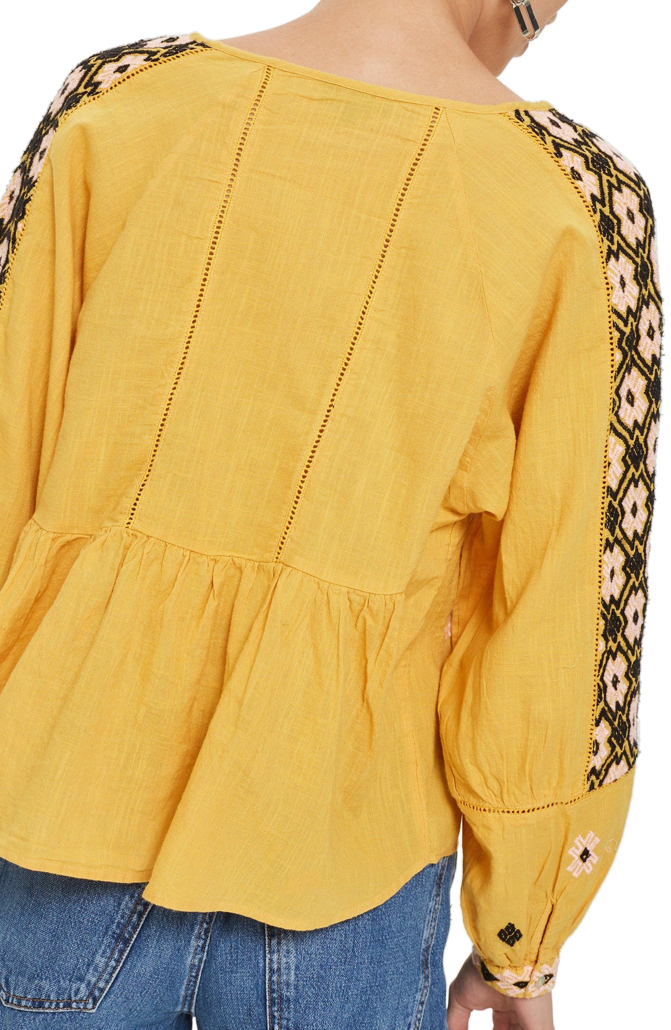Embroidered Ruffle Hem Top,                             Alternate thumbnail 2, color,                             Yellow Multi