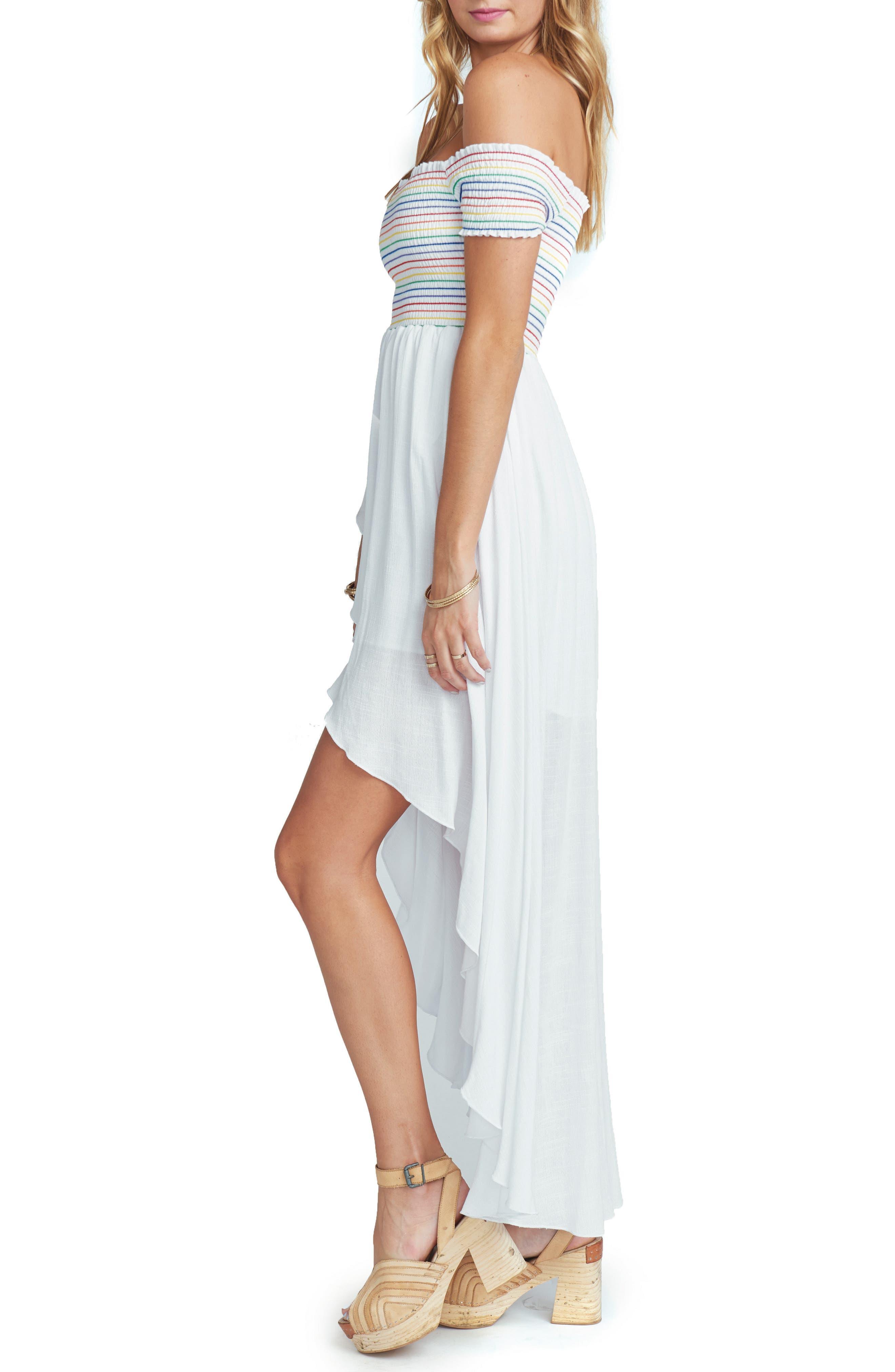 Willa Maxi Dress,                             Alternate thumbnail 3, color,                             White Cruise With Rainbow