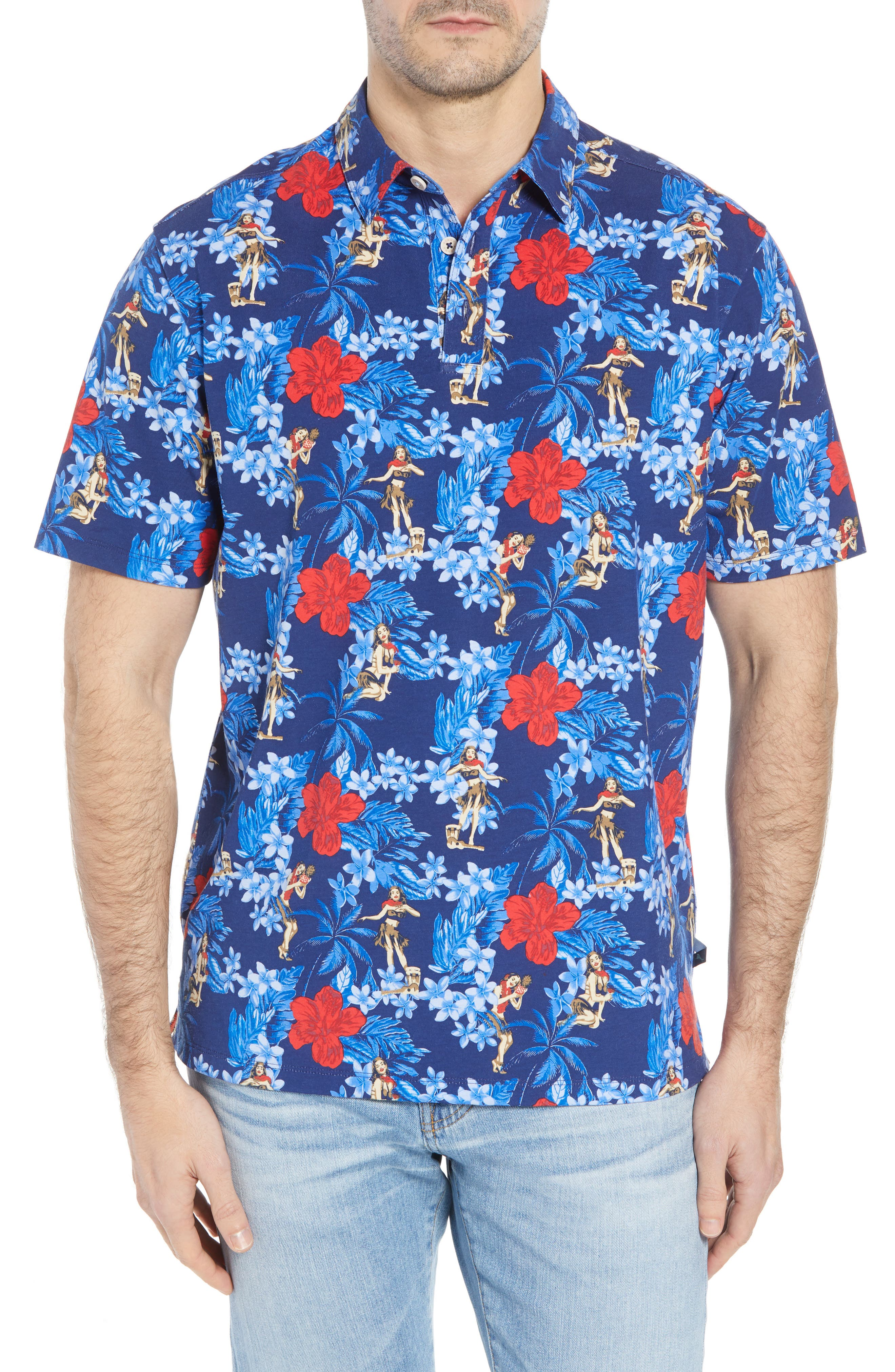 Hula Holiday Jersey Polo,                         Main,                         color, Throne Blue
