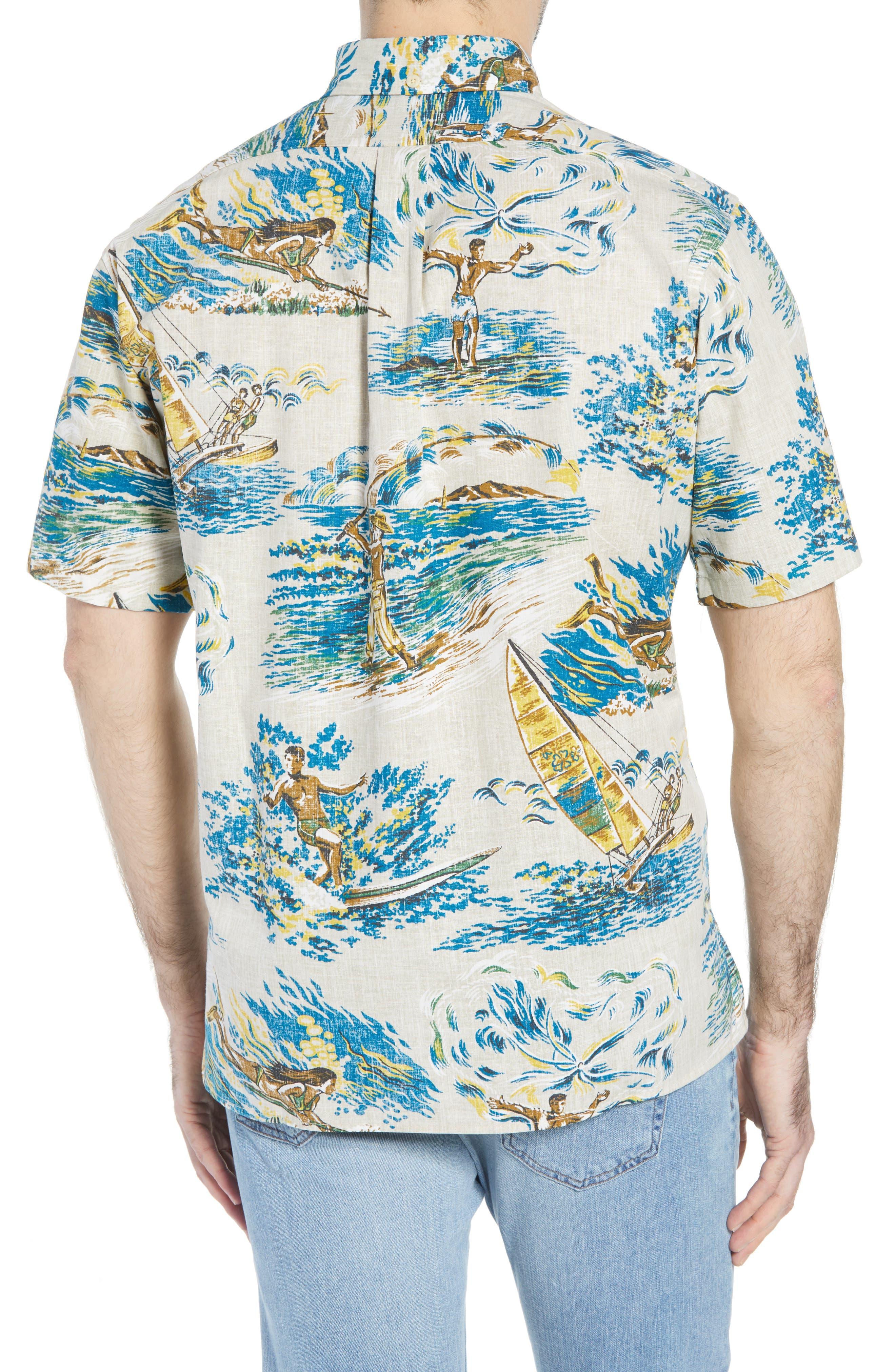 Moana Medley Classic Fit Print Sport Shirt,                             Alternate thumbnail 3, color,                             Chalk