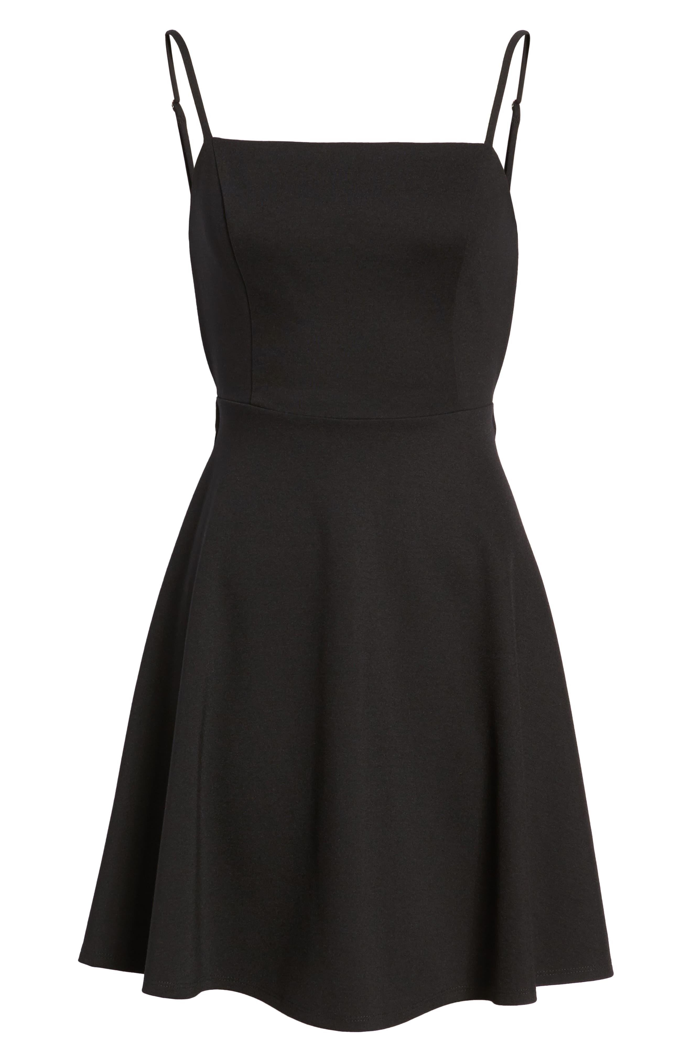 Backless Skater Dress,                             Alternate thumbnail 7, color,                             Black