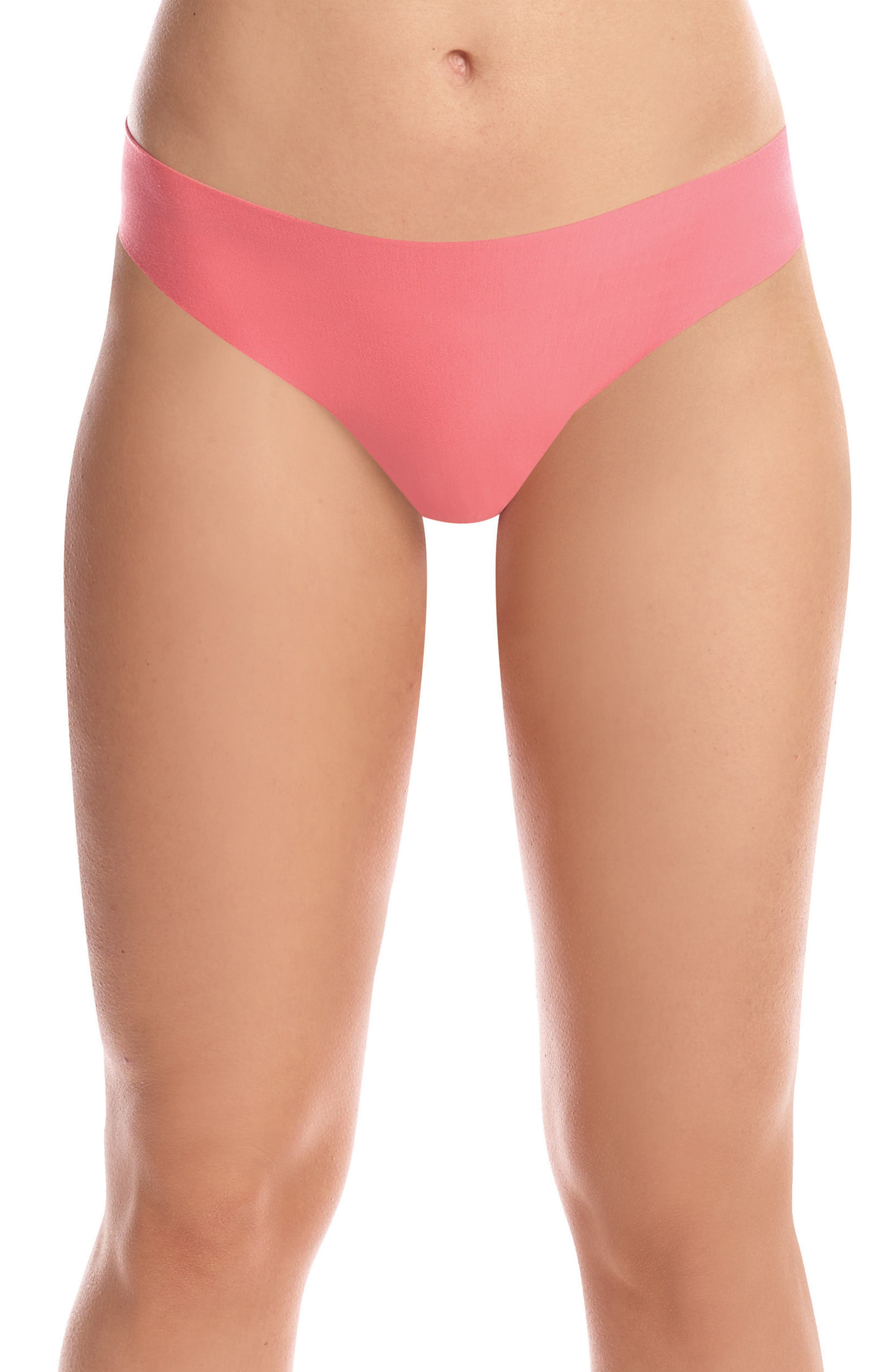 'Butter' Stretch Modal Thong,                             Main thumbnail 1, color,                             Coral