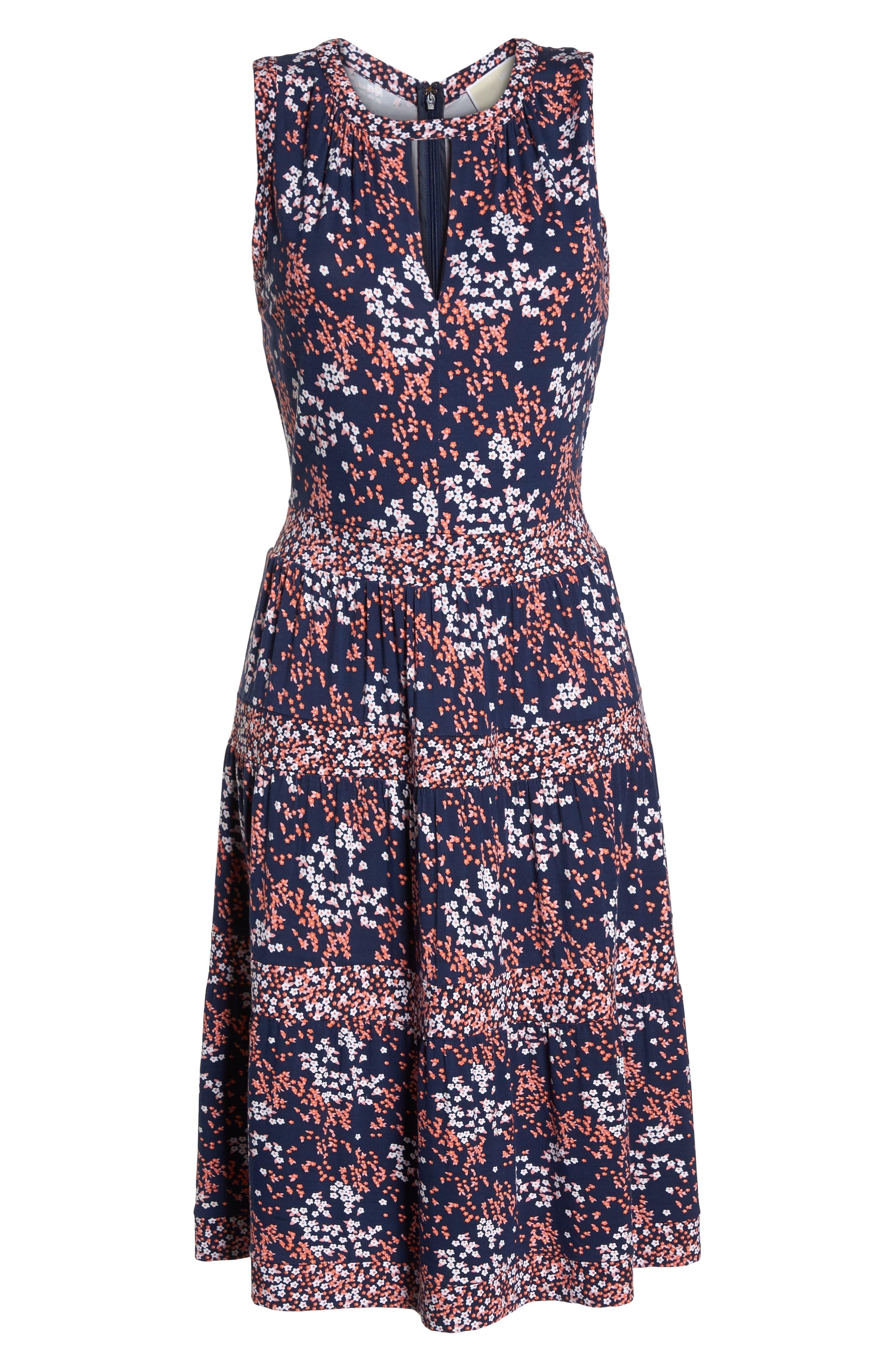 Blooms Border Tiered Dress,                             Alternate thumbnail 7, color,                             True Navy/ Bright Blush