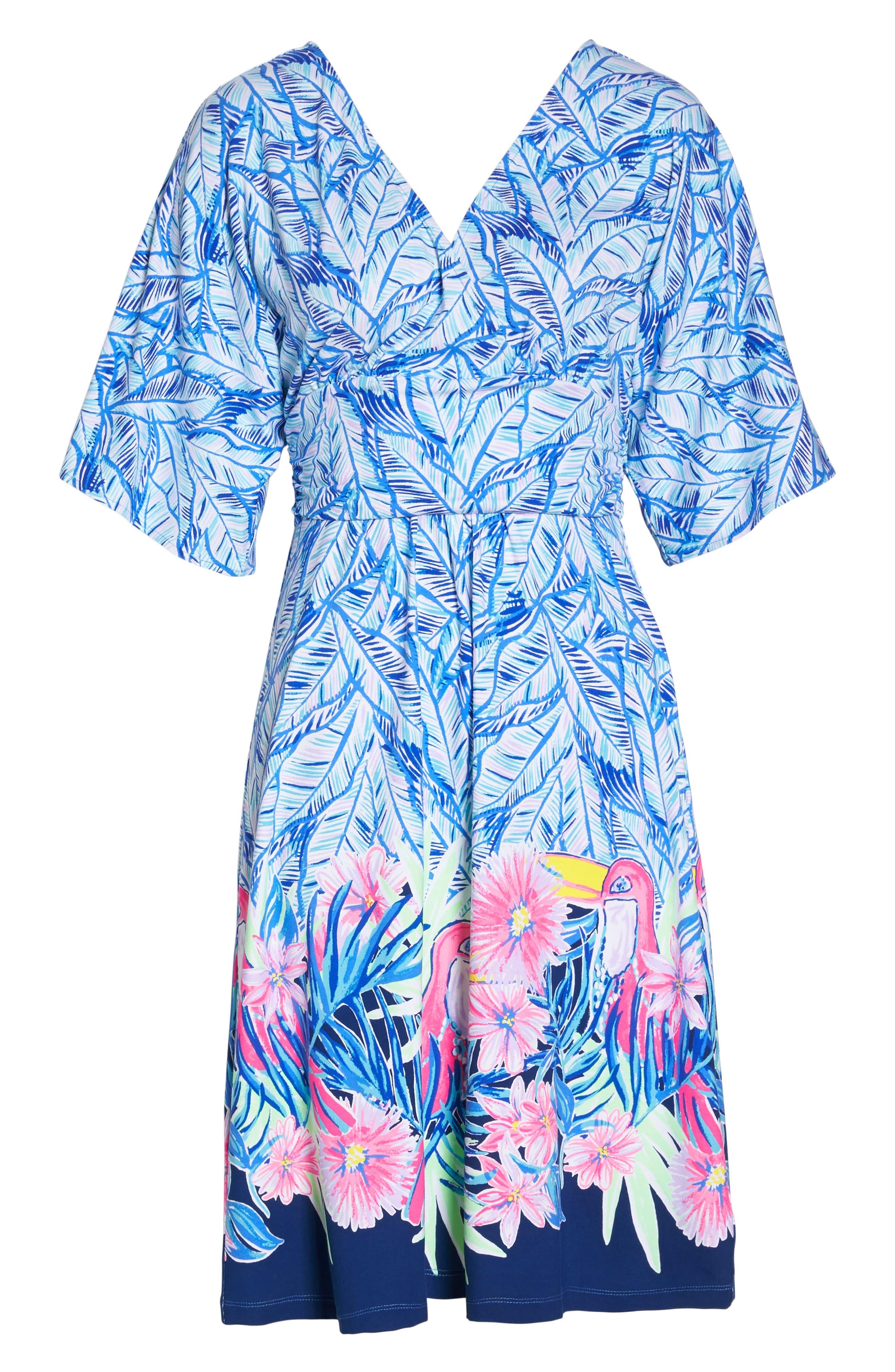 Parigi Print Dress,                             Alternate thumbnail 6, color,                             Bennet Blue Lets Mango